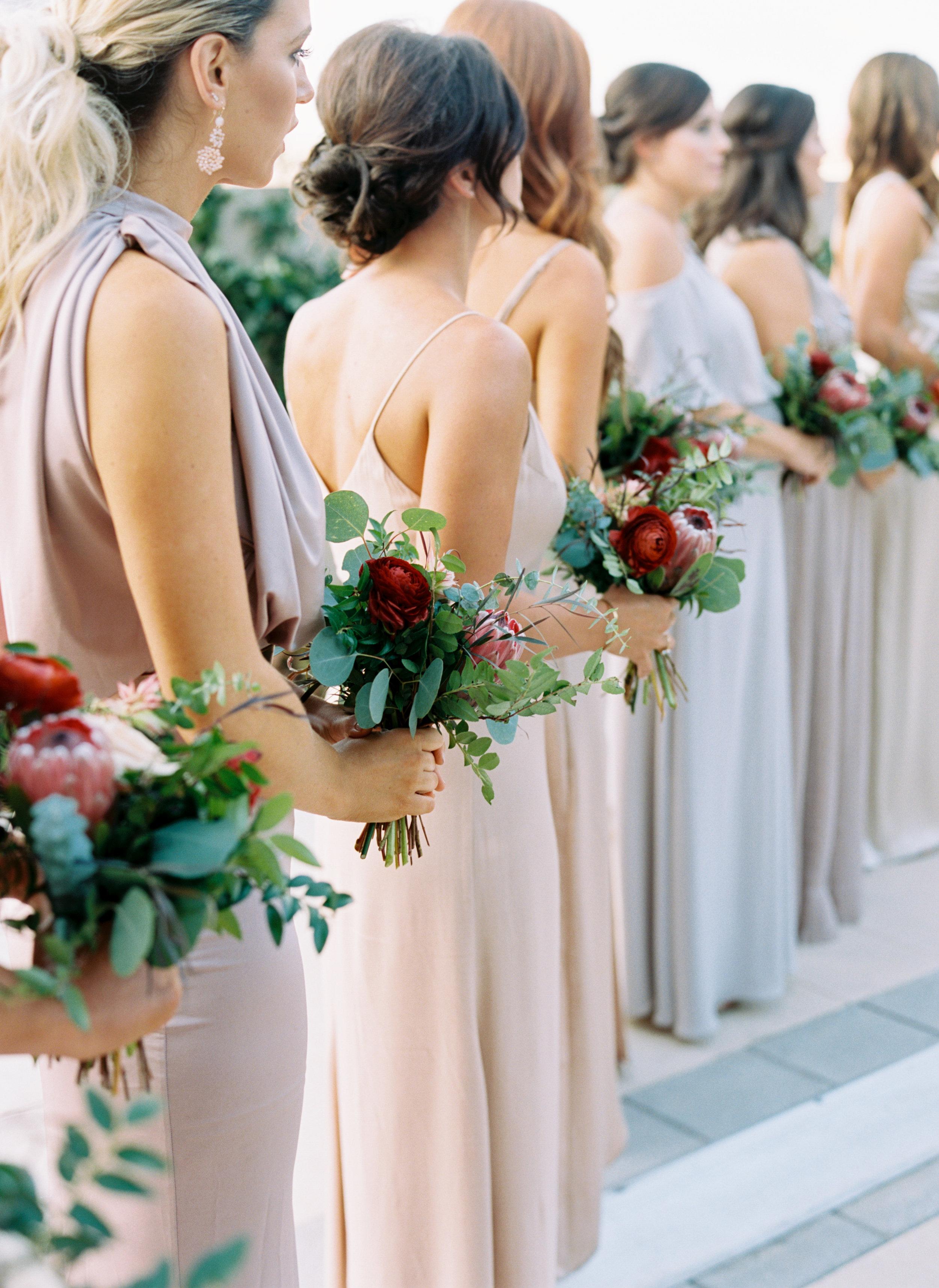 Muted pastel bridesmaid dresses with marsala florals // Nashville Wedding Florist