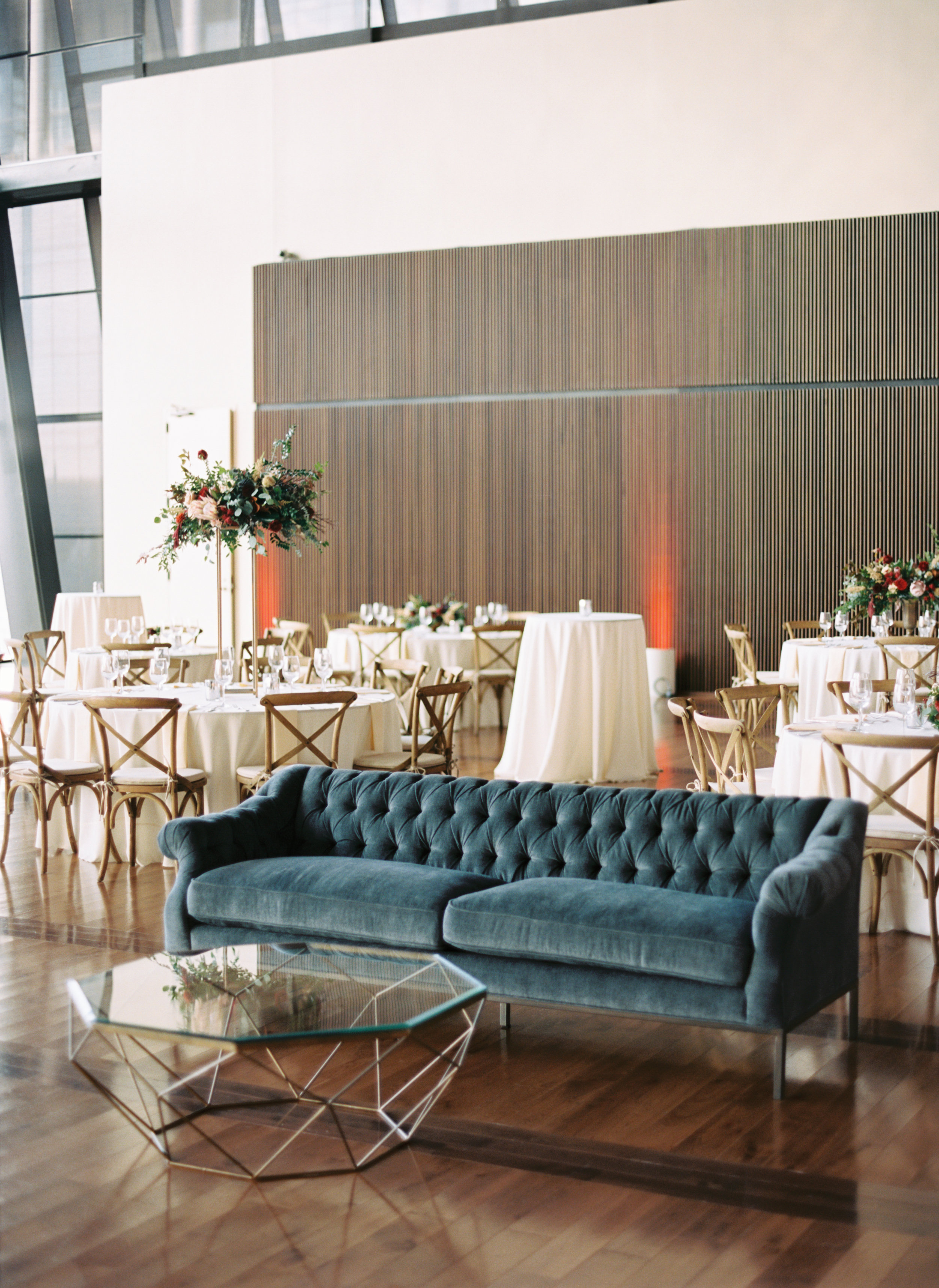 Marsala dahlias, peach astilbe, protea, and natural greenery // Nashville Wedding Florist
