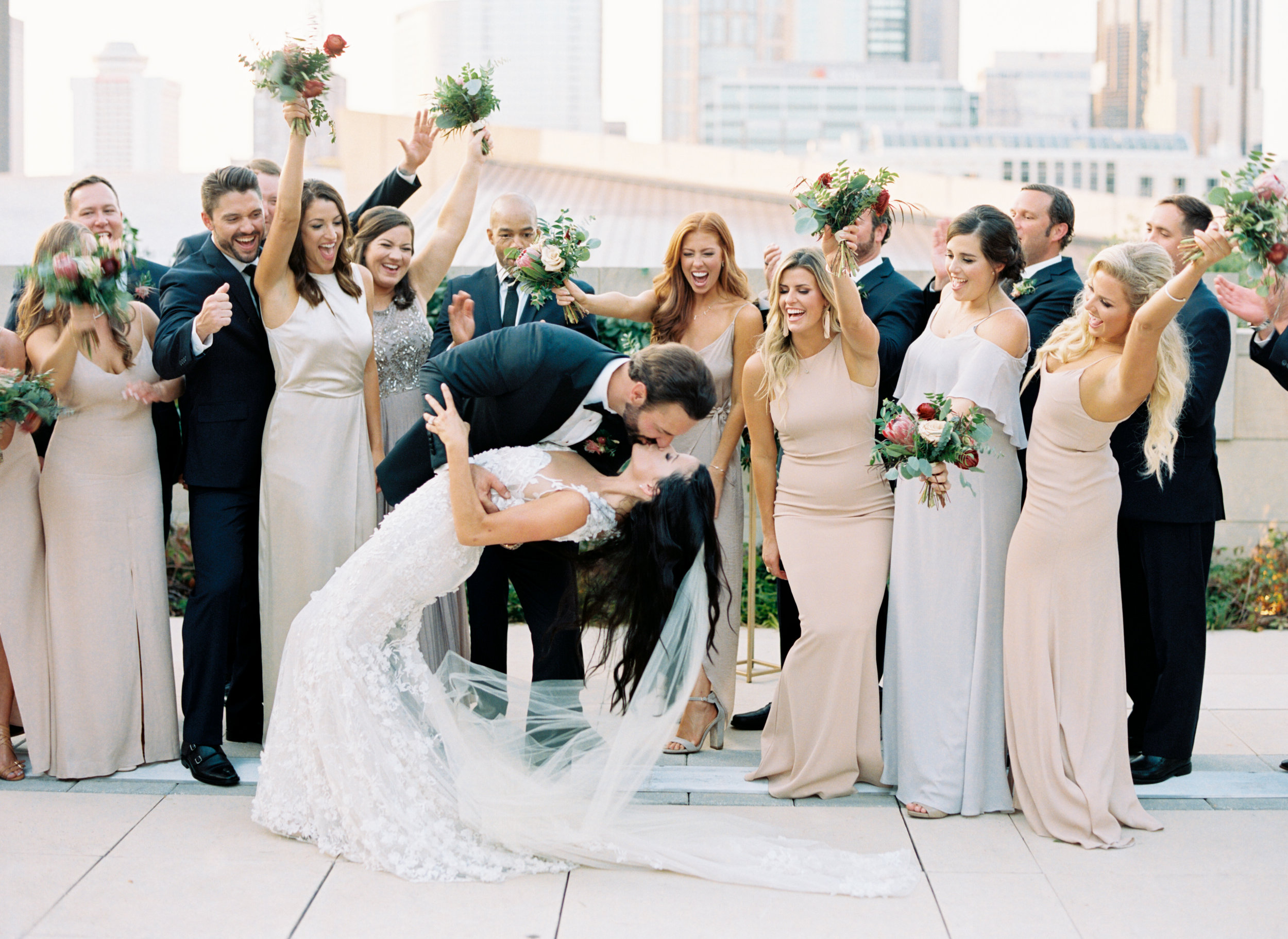 Country Music Hall of Fame wedding with blush and marsala floral design
