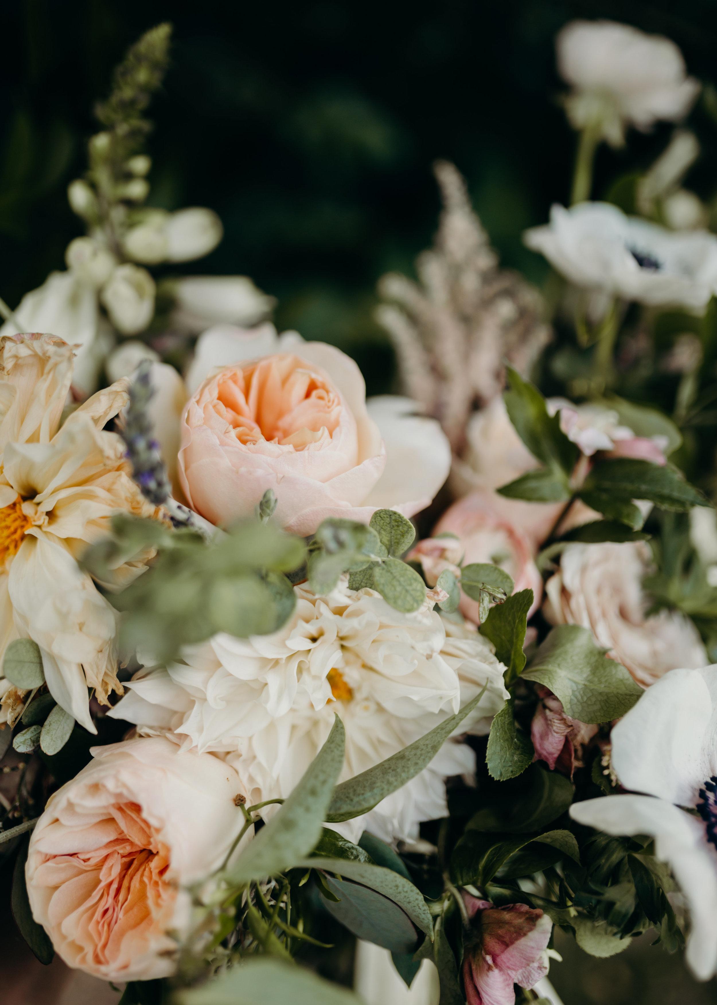 Blush and neutral bridal bouquet with cafe au lait dahlias, anemones, and ranunculus // Nashville Wedding Florist