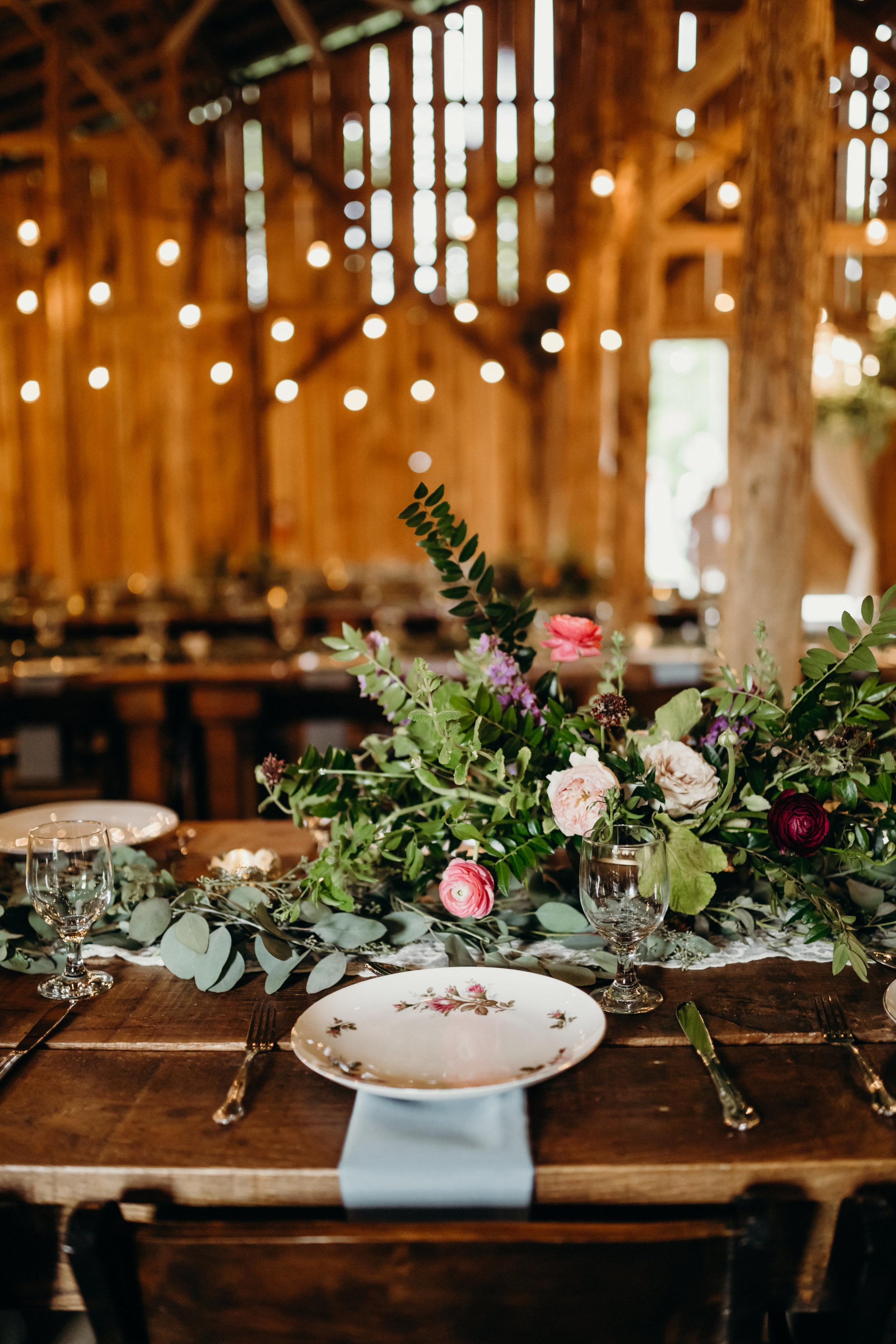 Lush floral centerpieces // Meadow Hill Farm Wedding