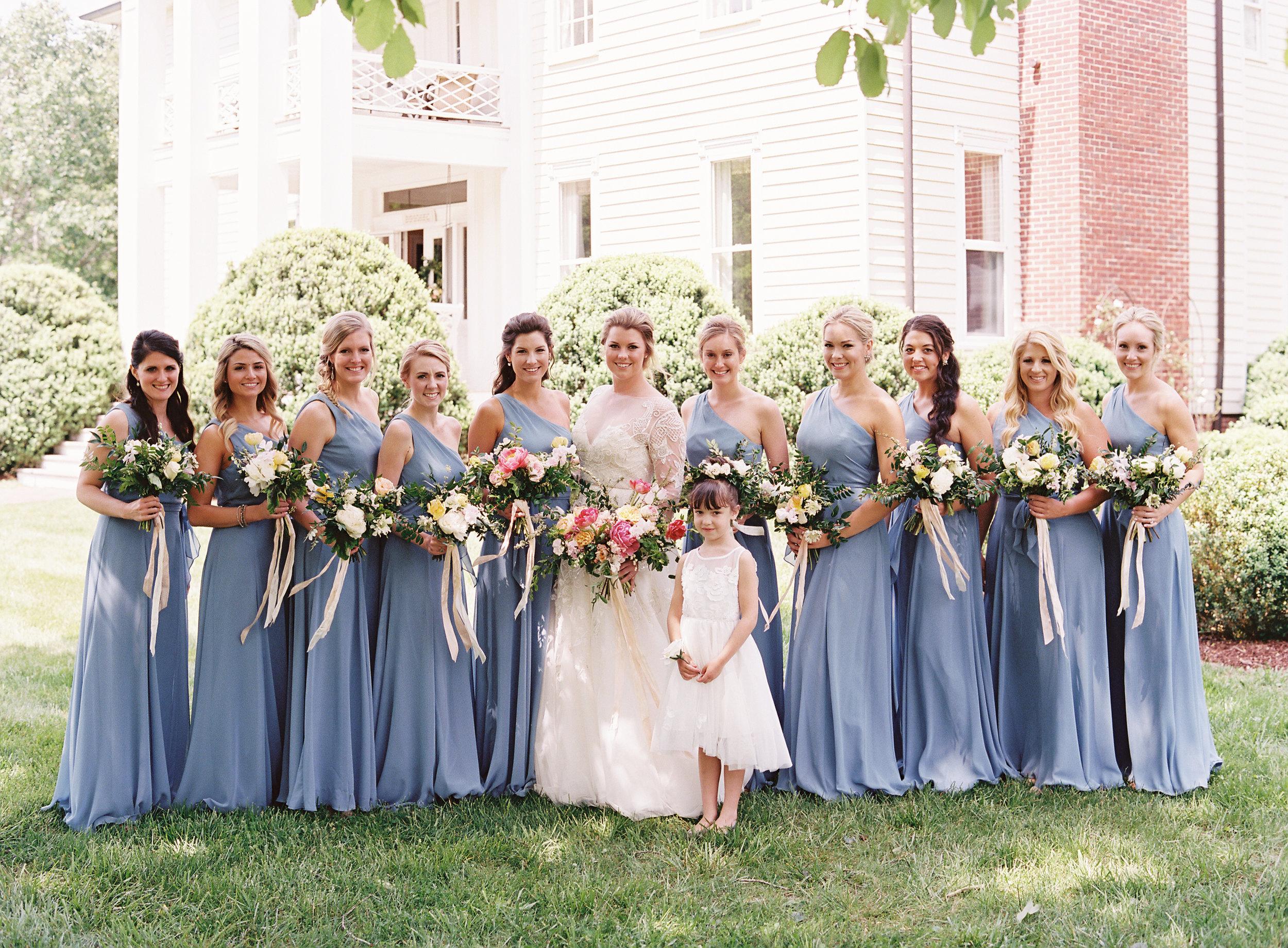 Bridal Party Portraits at the bride's childhood home // Franklin, TN Wedding Floral Designer