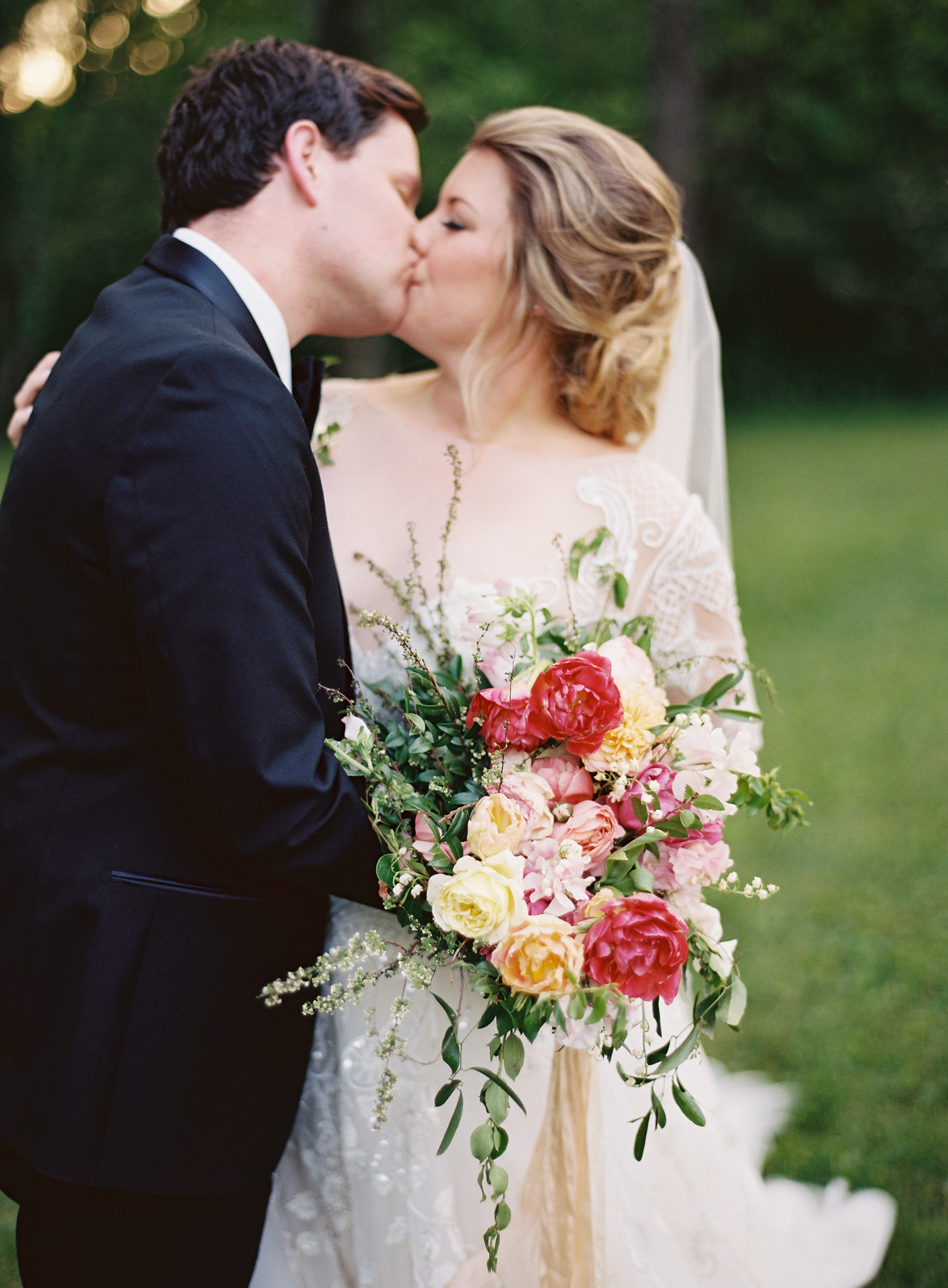 Organic bridal bouquet with blush sweet peas, homegrown pink peonies, California garden roses, and airy greenery // Nashville Wedding Floral Design