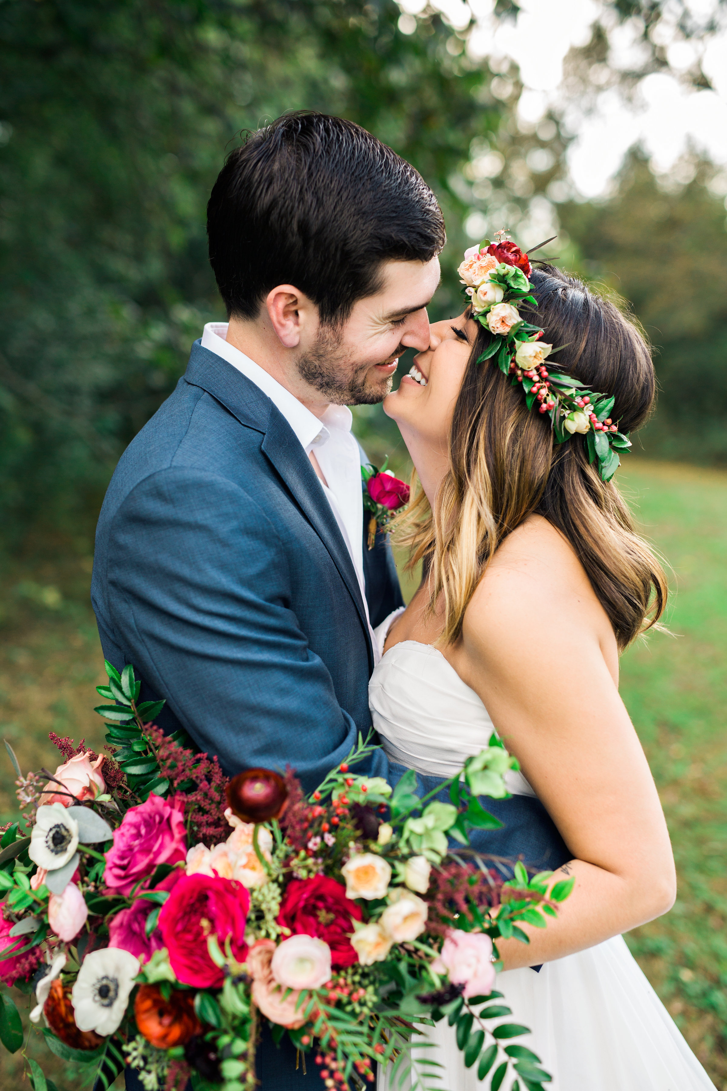 Lush, organic bridal bouquet and flower crown with marsala ranunculus and garden roses // Nashville Wedding Florist