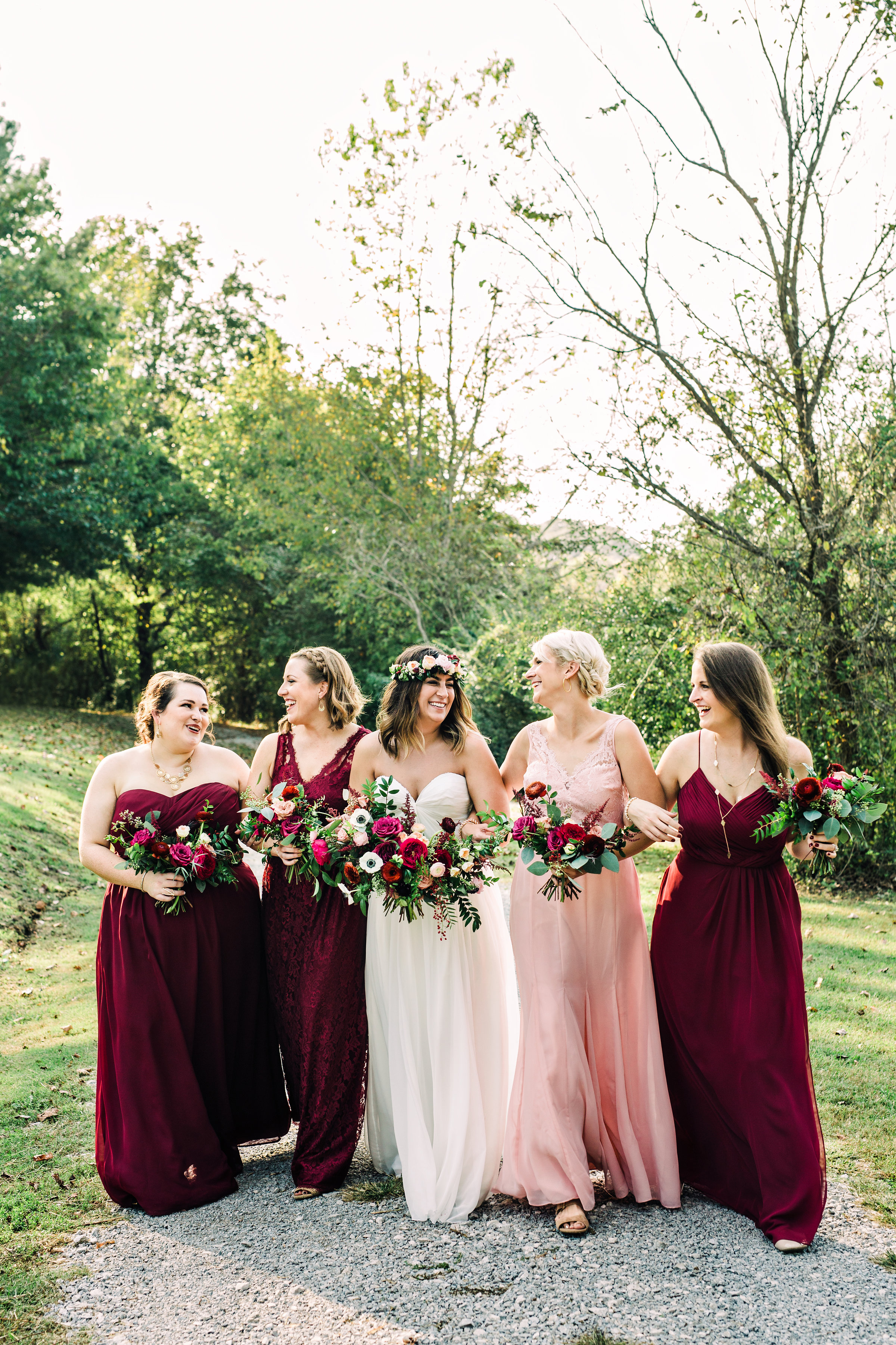 Bridesmaids in burgundy and blush // Meadow Hill Farm Wedding Flowers