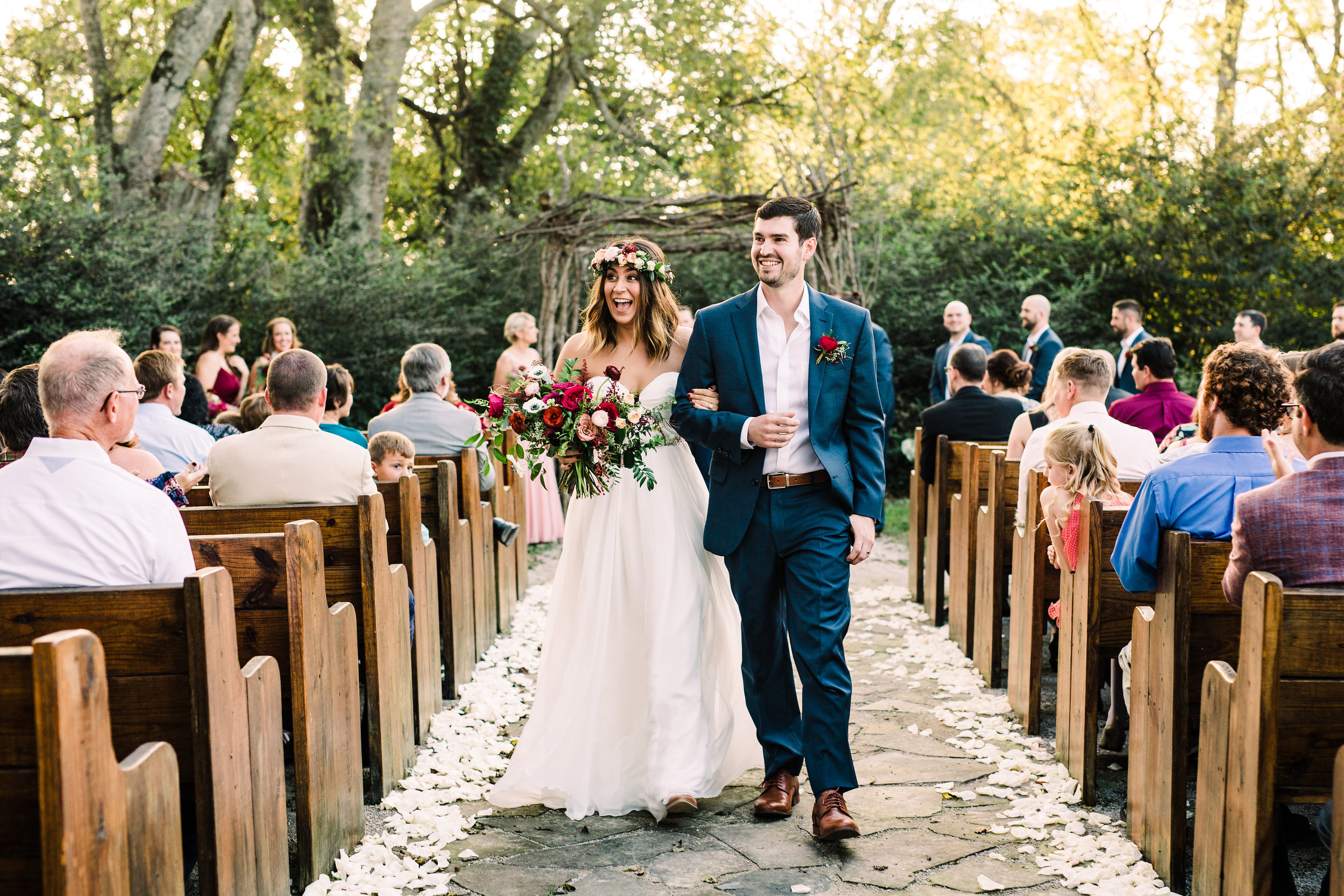 Meadow Hill Farm Wedding Ceremony with rose petal aisle