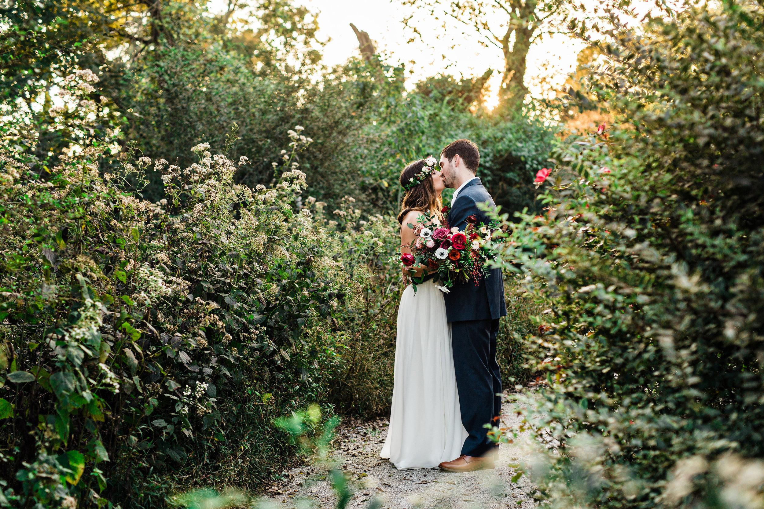 Nashville garden bride and groom portraits