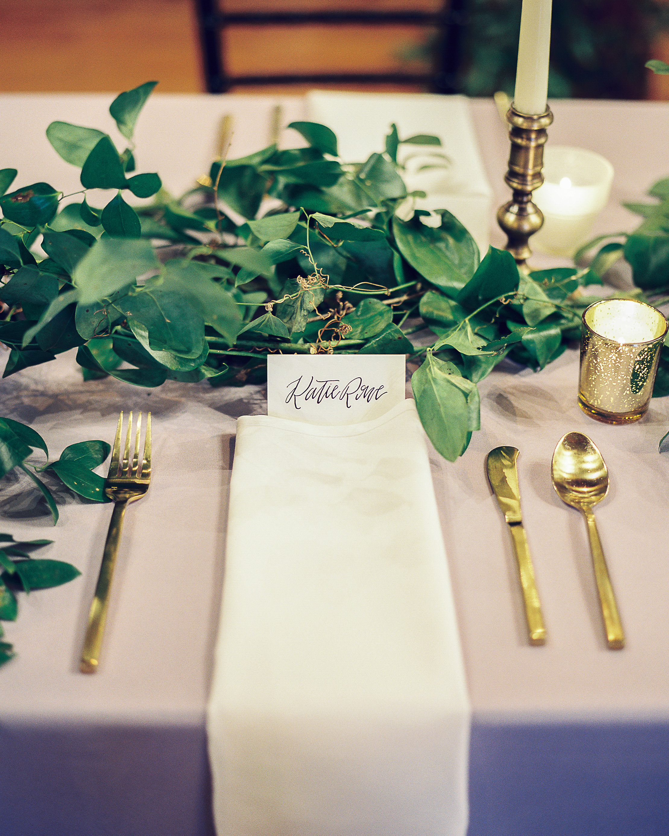 Lush greenery garland for the head table // Nashville Wedding Floral Design