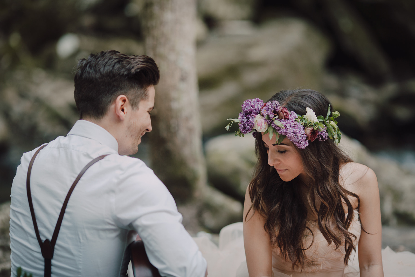 Lilac flower crown and organic groom boutonniere // Waterfall Wedding outside of Nashville, TN