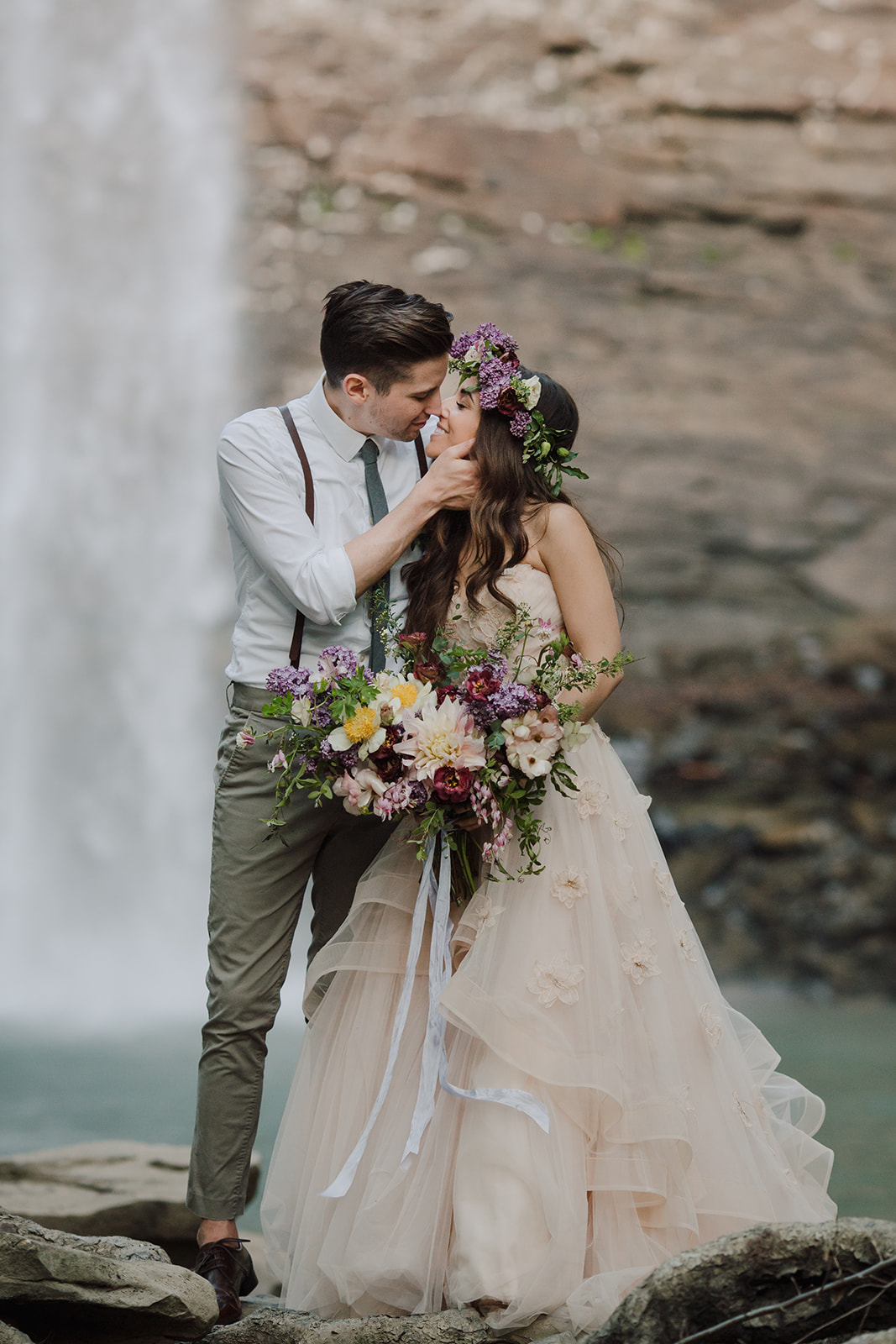 Natural, trailing bridal bouquet and flower crown with a blush wedding dress // Middle TN Waterfall Vow Renewal Floral Design