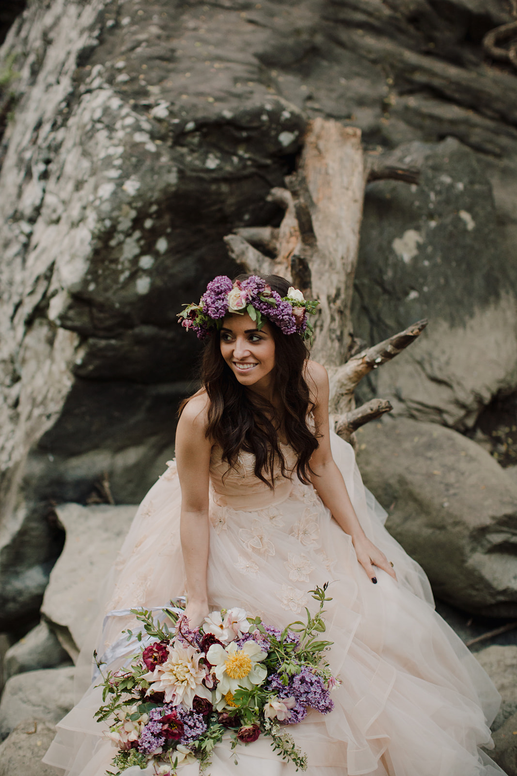 Lush bridal bouquet with lilac, peonies, cafe au lait dahlias, and butterfly ranunculus // Nashville Waterfall Elopement Floral Design