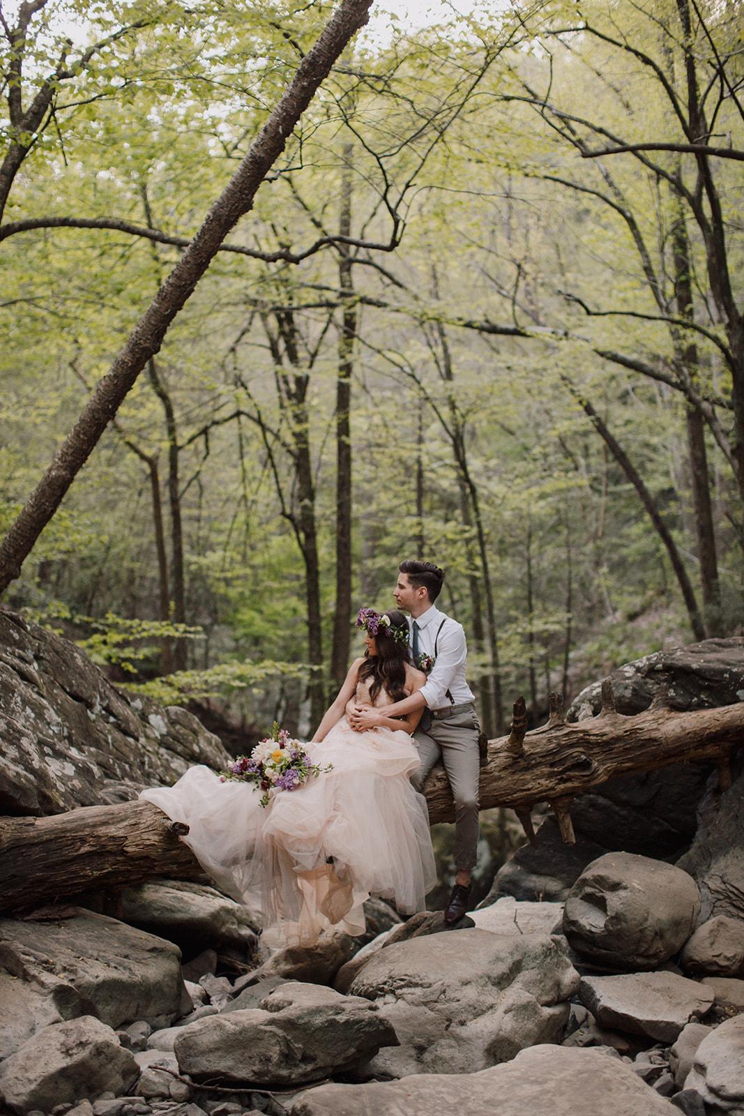 Lush bridal bouquet with lilac, peonies, cafe au lait dahlias, and butterfly ranunculus // Nashville Ozone Falls Wedding Floral Design
