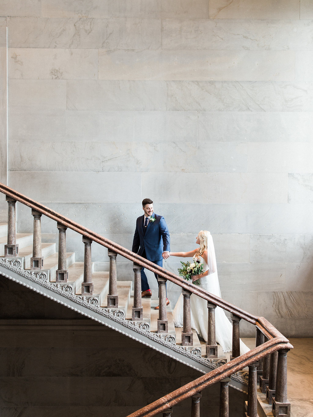 Bridal party portraits in the TN State Capitol // Nashville Wedding Floral Design