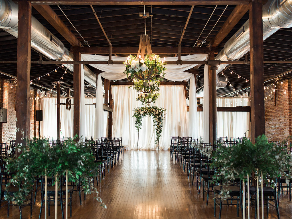 Lush, natural floral installations at Cannery One // Nashville Wedding Florist