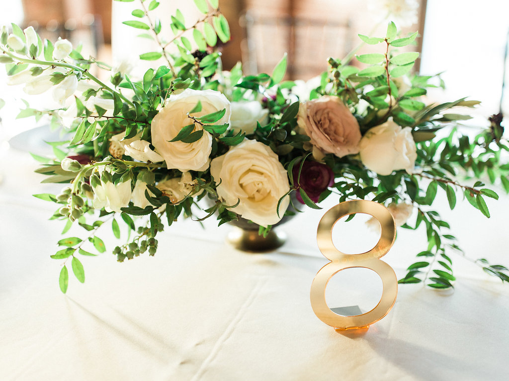 Lush gold compote centerpiece with neutral and marsala flowers // Nashville Wedding Florist