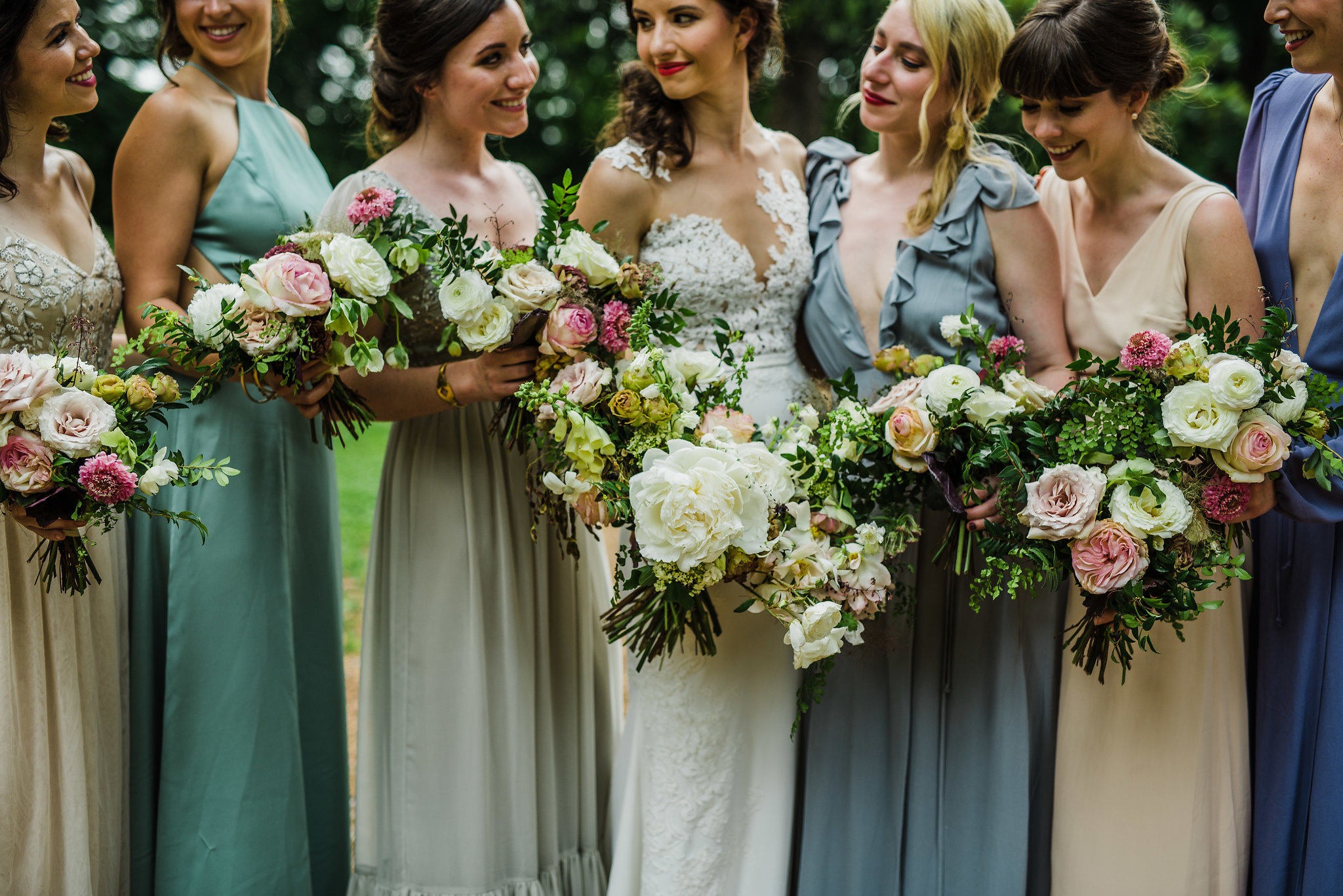 Lush, airy wedding flowers with peonies, garden roses, and greenery // Nashville Wedding Florist at Travellers Rest