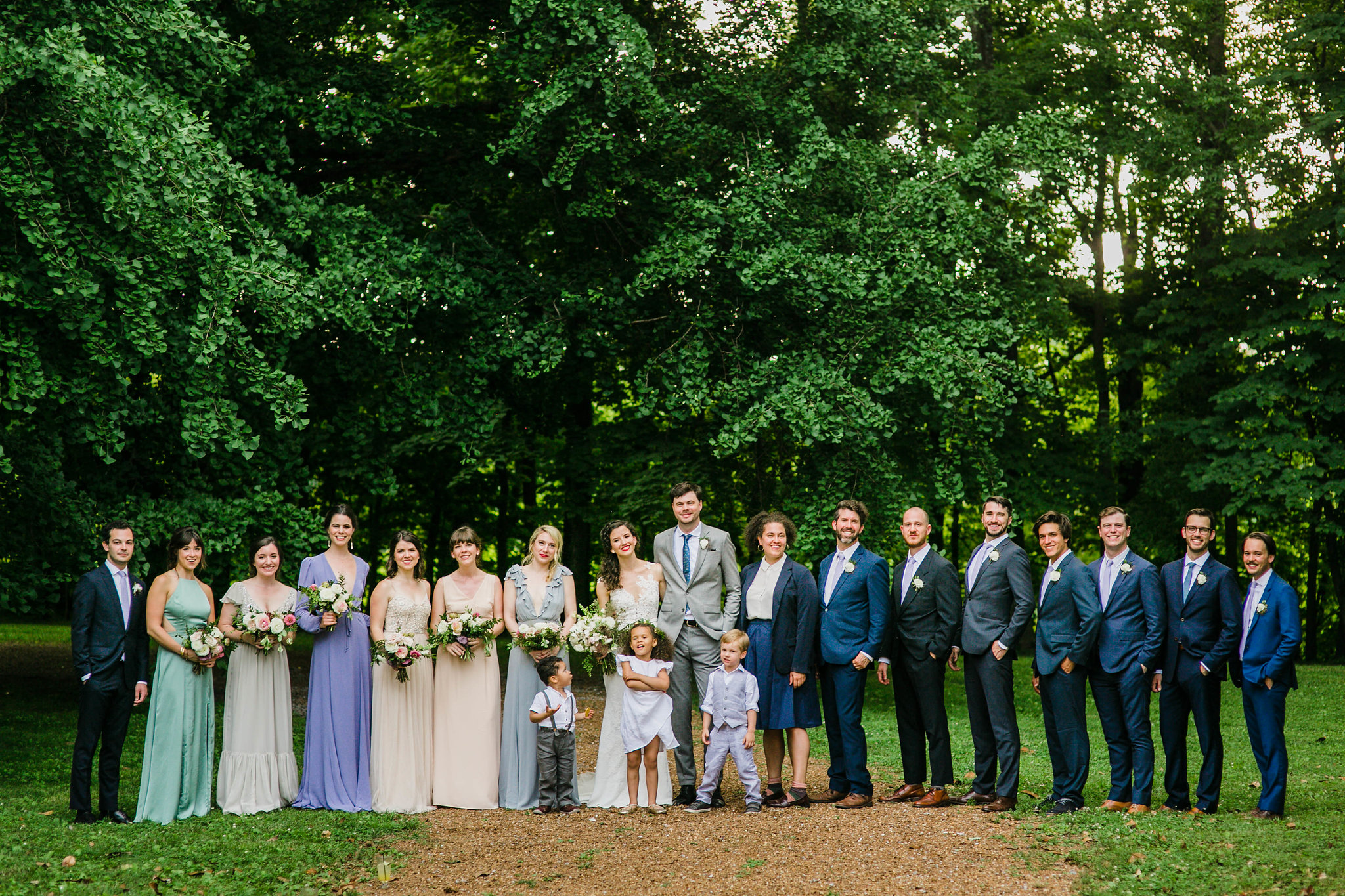 Art deco garden party wedding at Historic Travellers Rest in Nashville with organic, untamed floral design