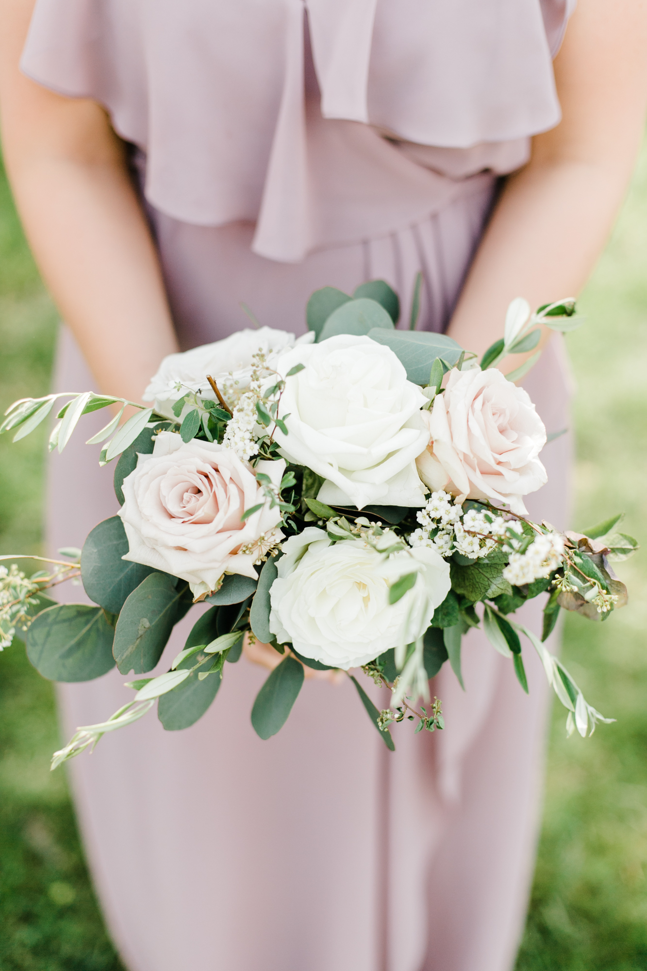 Blush and cream bridesmaid bouquet with olive branches and silver dollar eucalyptus // Nashville Wedding Florist