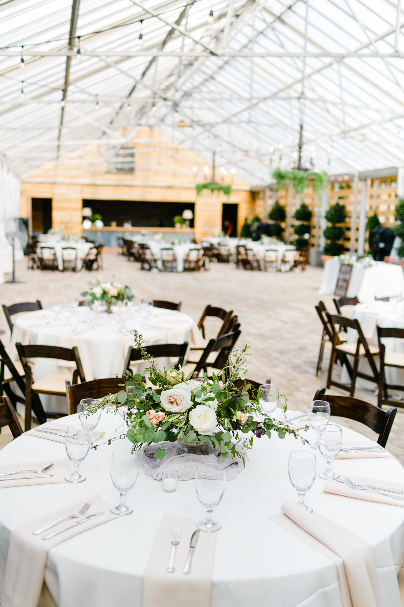 Greenhouse wedding reception // Tennessee Floral Designer