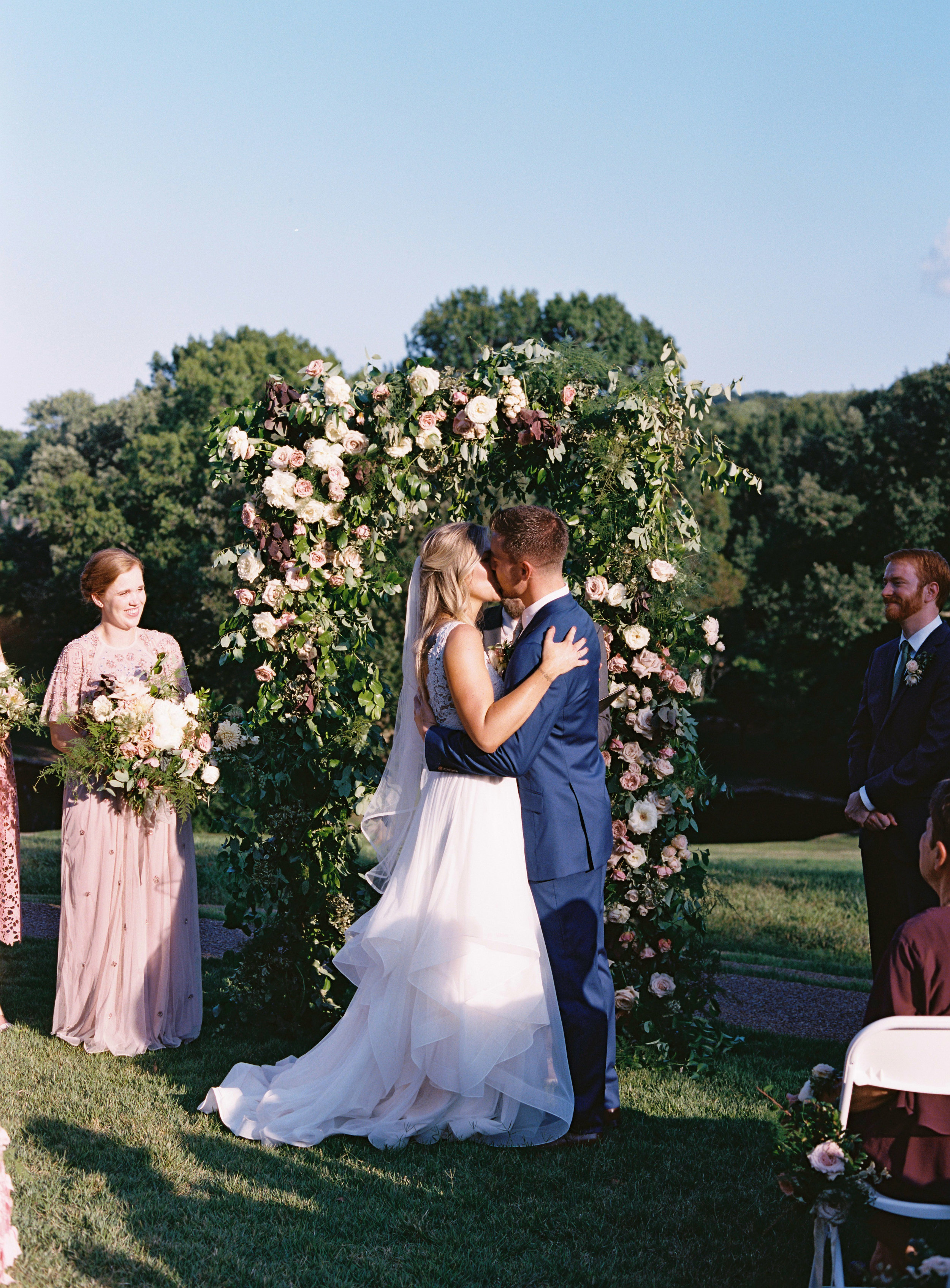 Natural floral arch with blush and neutral garden roses and greenery // Southern Wedding Floral Designer