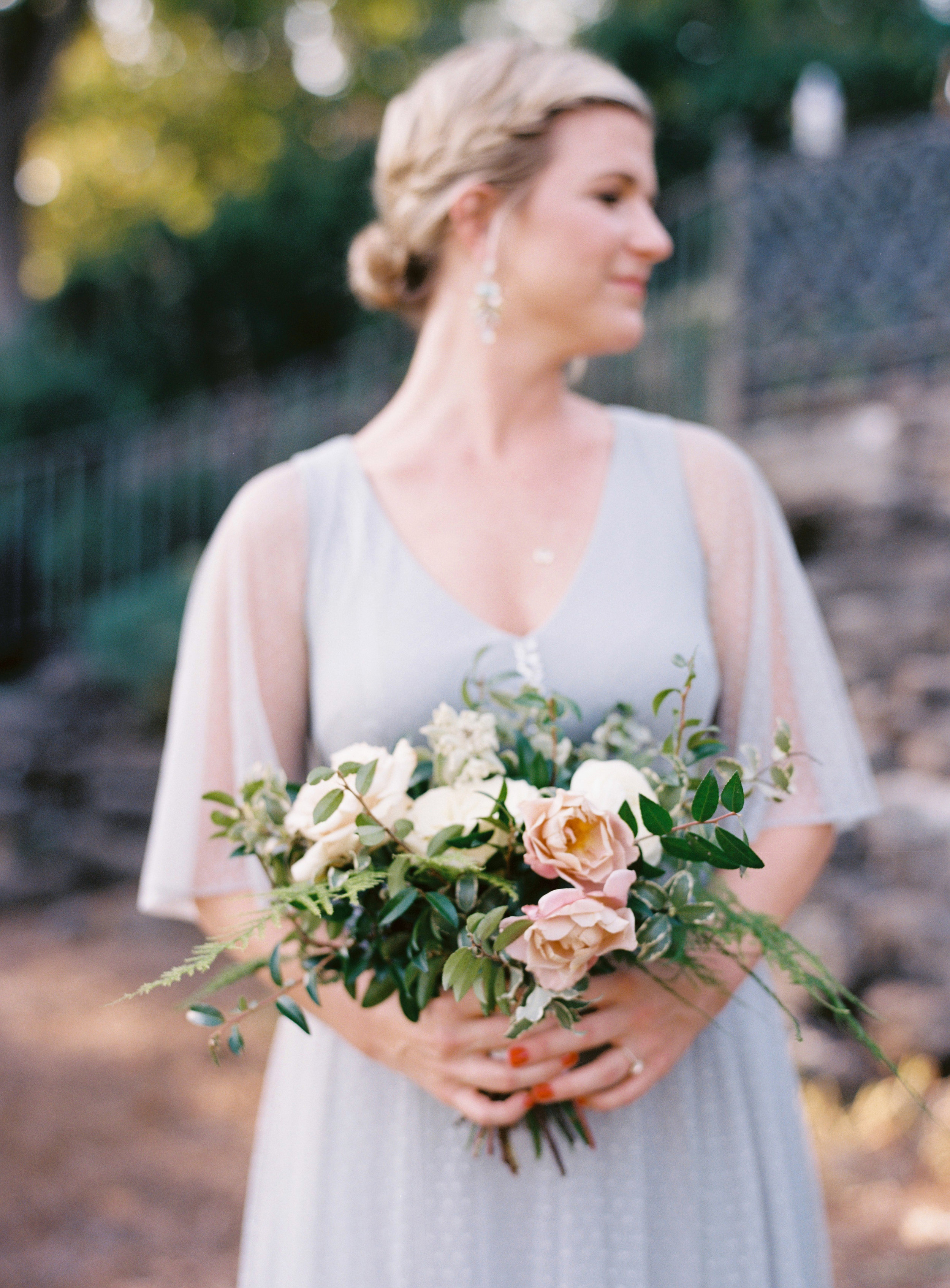 Organic bride and bridesmaid bouquet with garden roses and peonies and greenery // Nashville Wedding Florist