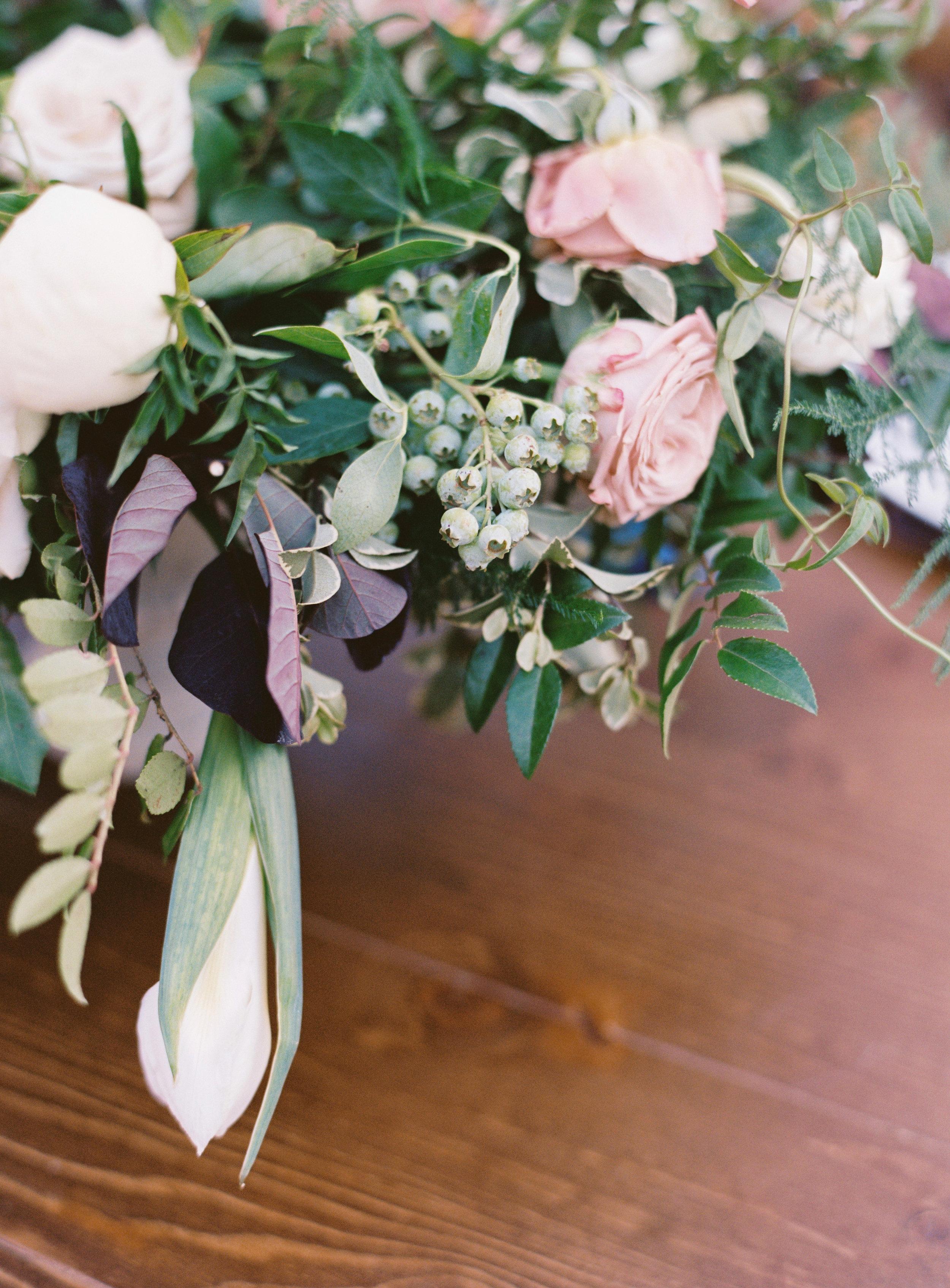Low, organic floral arrangement peonies, garden roses, and greenery // Nashville Wedding Florist