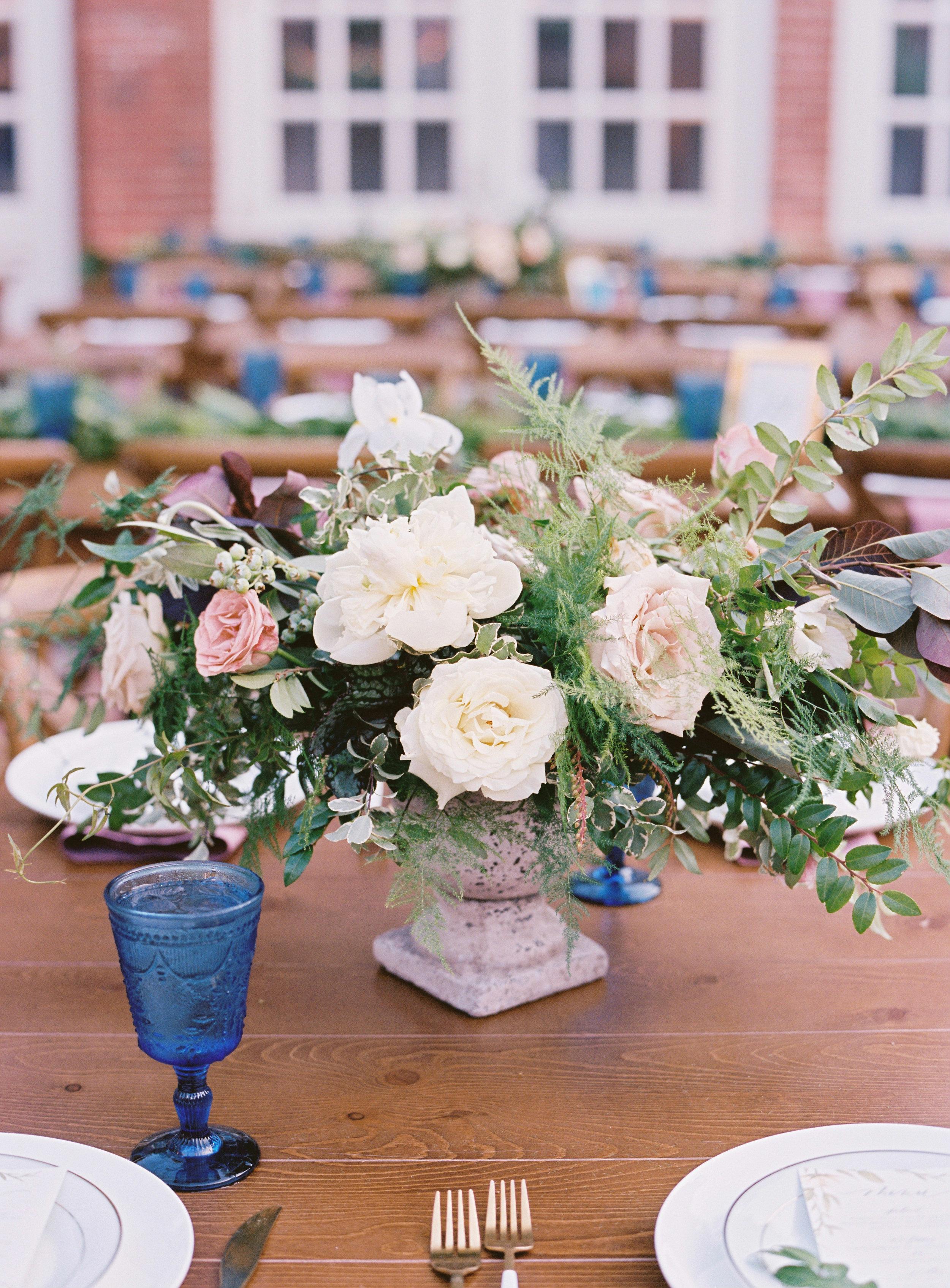 Low, organic floral arrangement peonies, garden roses, and greenery // Nashville Wedding Flowers