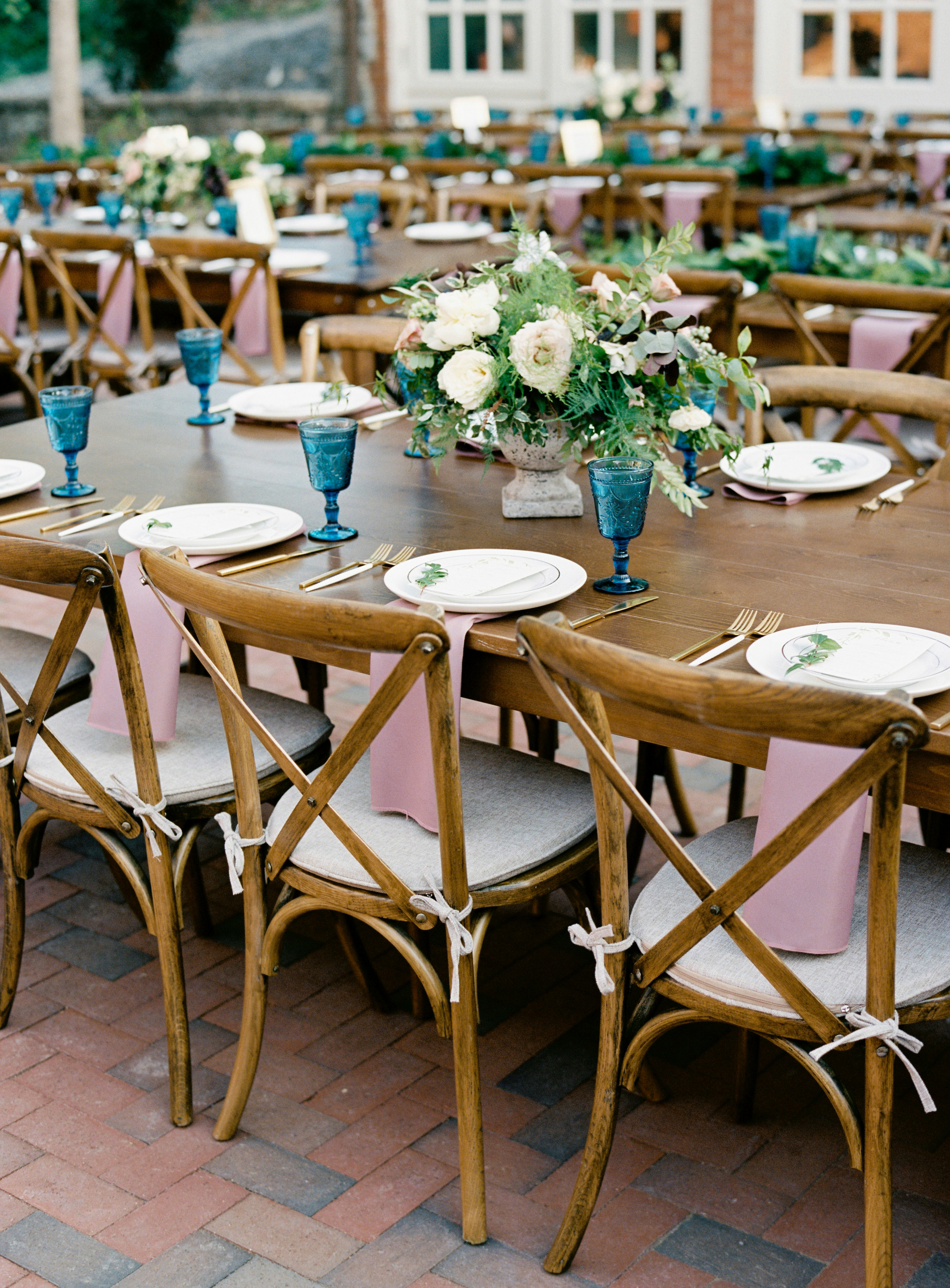 Low, organic floral arrangement of peonies, garden roses, and greenery // Nashville Wedding Florist