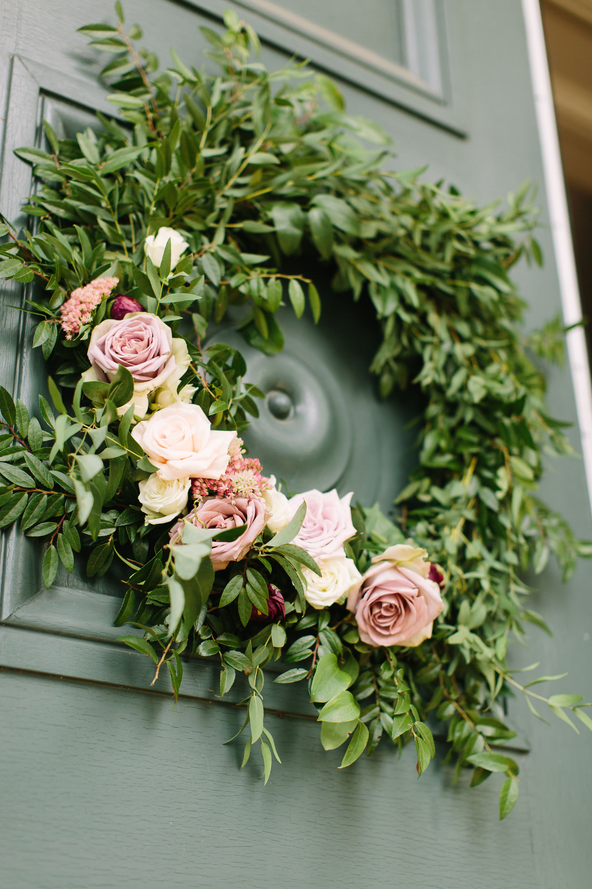 Organic wreath with floral hints of cream and mauve roses // Tennessee Floral Designer