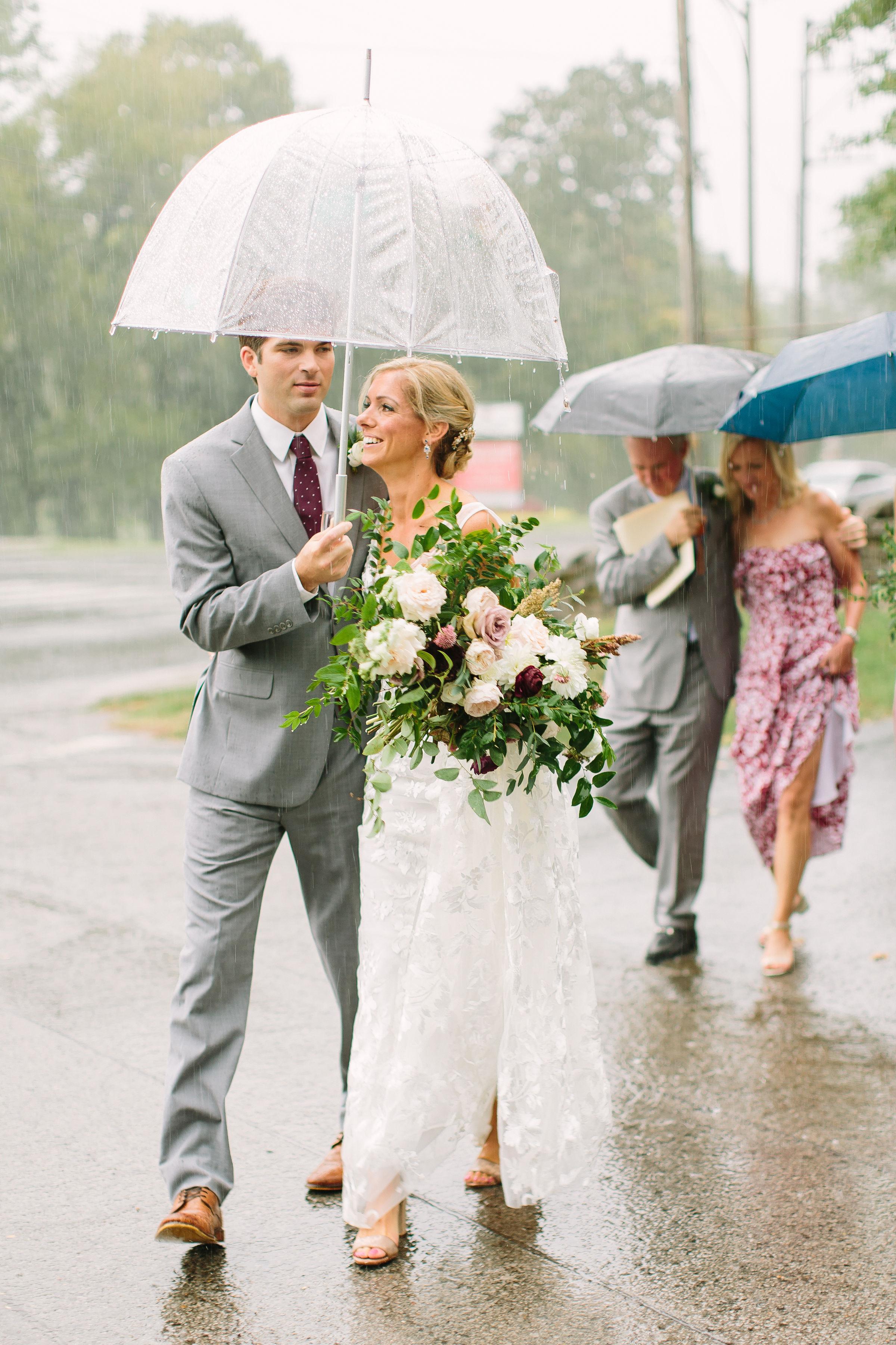 New Orleans style wedding parade in the rain // Nashville Wedding Florist