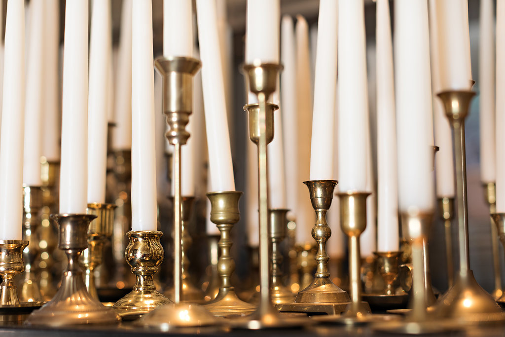 Brass candlesticks // December Blackberry Farm Wedding Floral Design