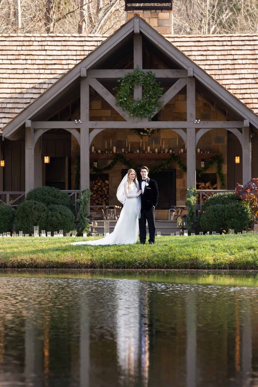 December Wedding at Blackberry Farm with all white and greenery florals // Wedding Ceremony at Yallerhammer Pavillion // Tennessee Floral Design