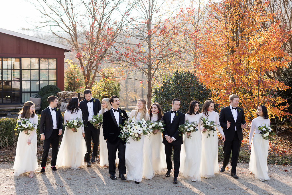 Bridal party portraits in front of the Barn at Blackberry Farm // Nashville Wedding Florist