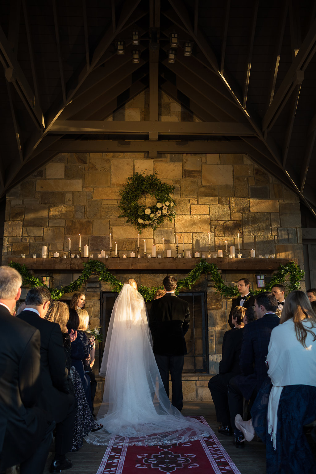 December Wedding at Blackberry Farm with all white and greenery florals // Wedding Ceremony at Yallerhammer Pavillion // Tennessee Florist // Rosemary & Finch Floral Design