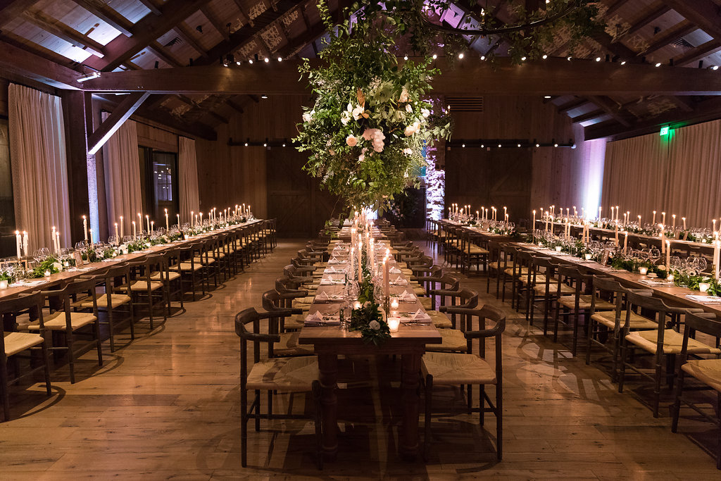 Lush greenery garland runners with floral accents of anemones and white garden roses on farm tables // Nashville Wedding Florist // Rosemary & Finch Floral Design