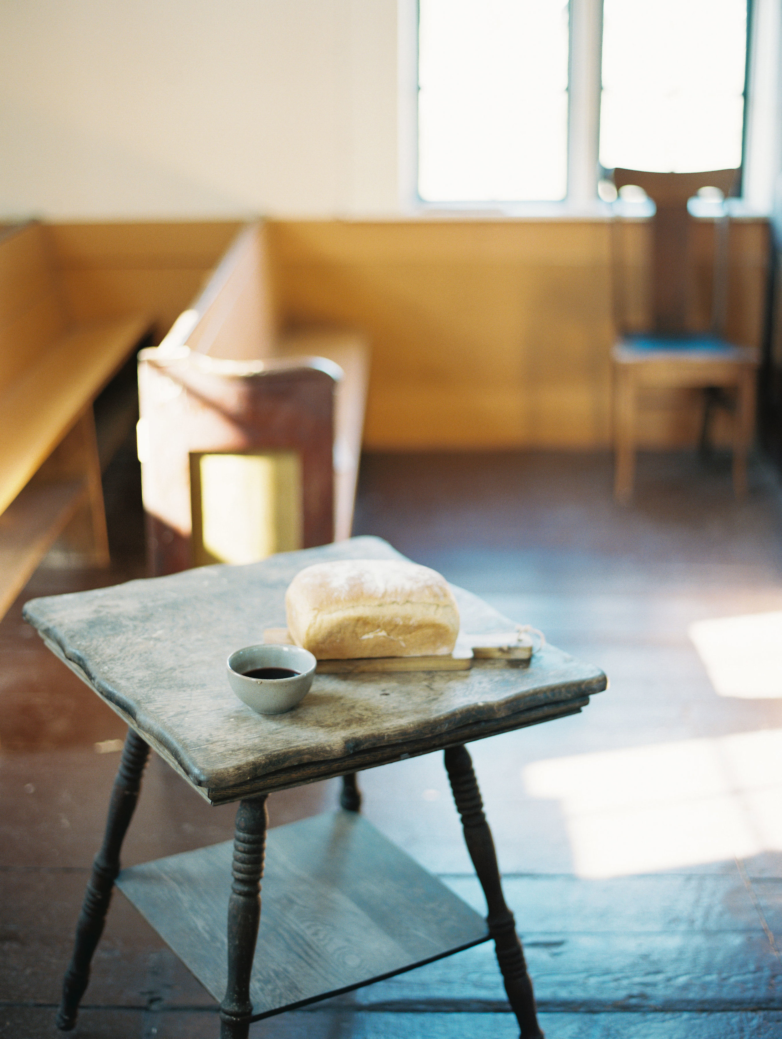 Rustic communion table for the wedding ceremony