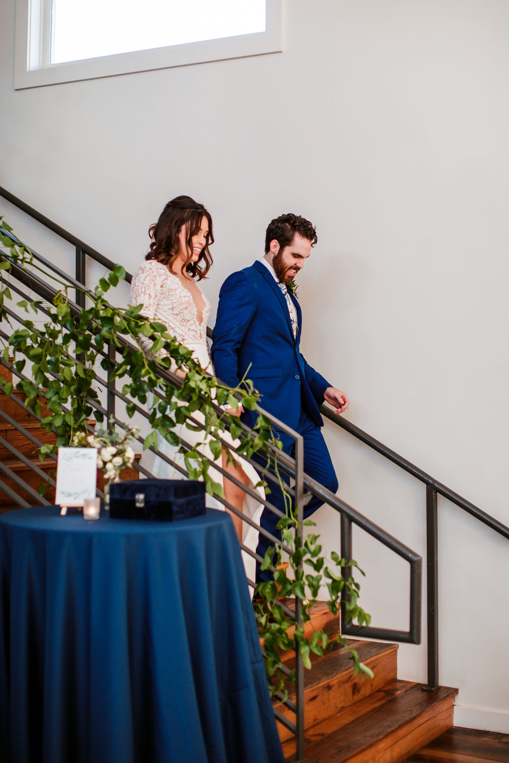 Lush greenery staircase installation at the Cordelle // Nashville Wedding Floral Design