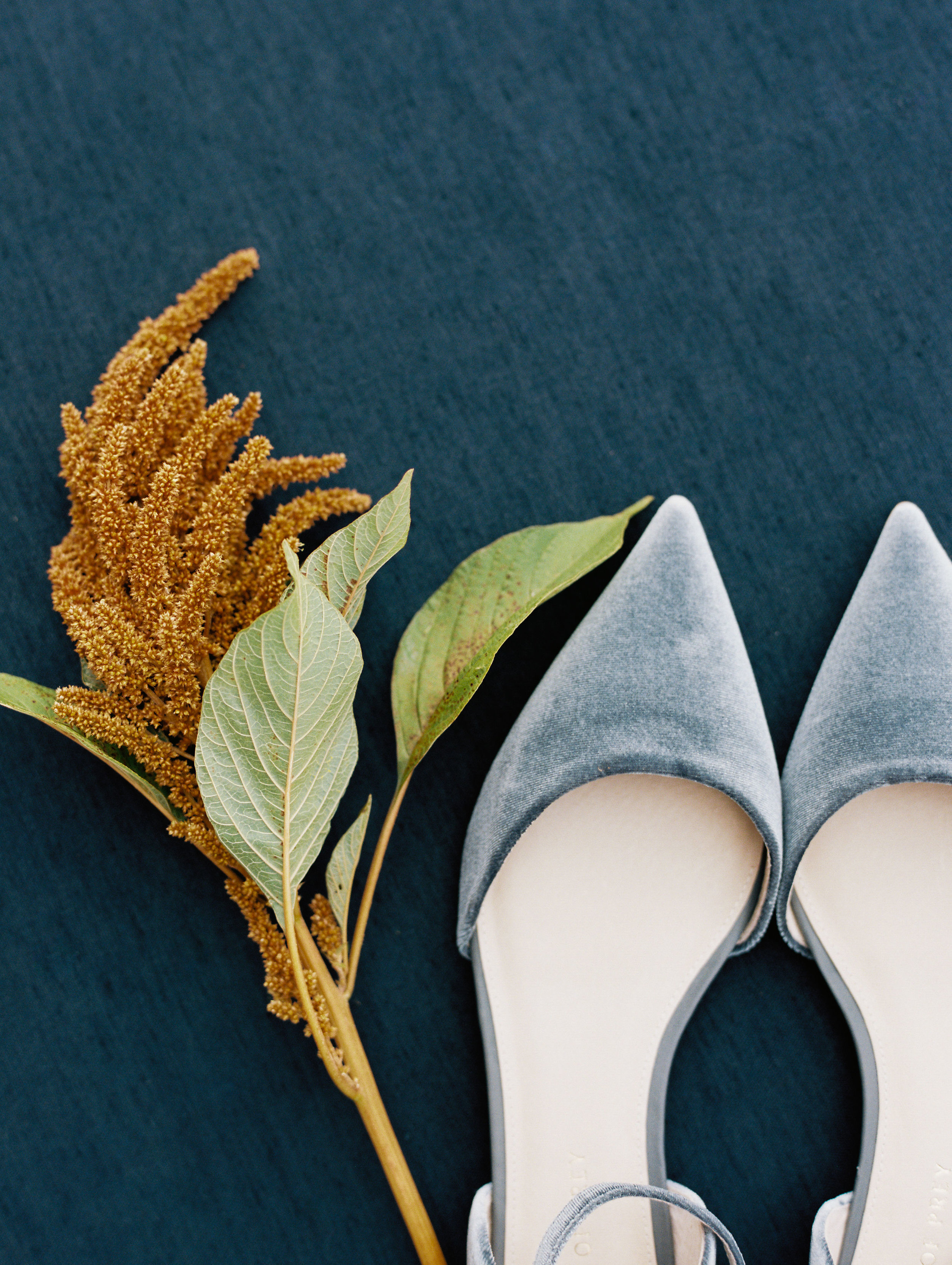 Dusty blue velvet bridal shoes. Nashville Wedding Floral Design.