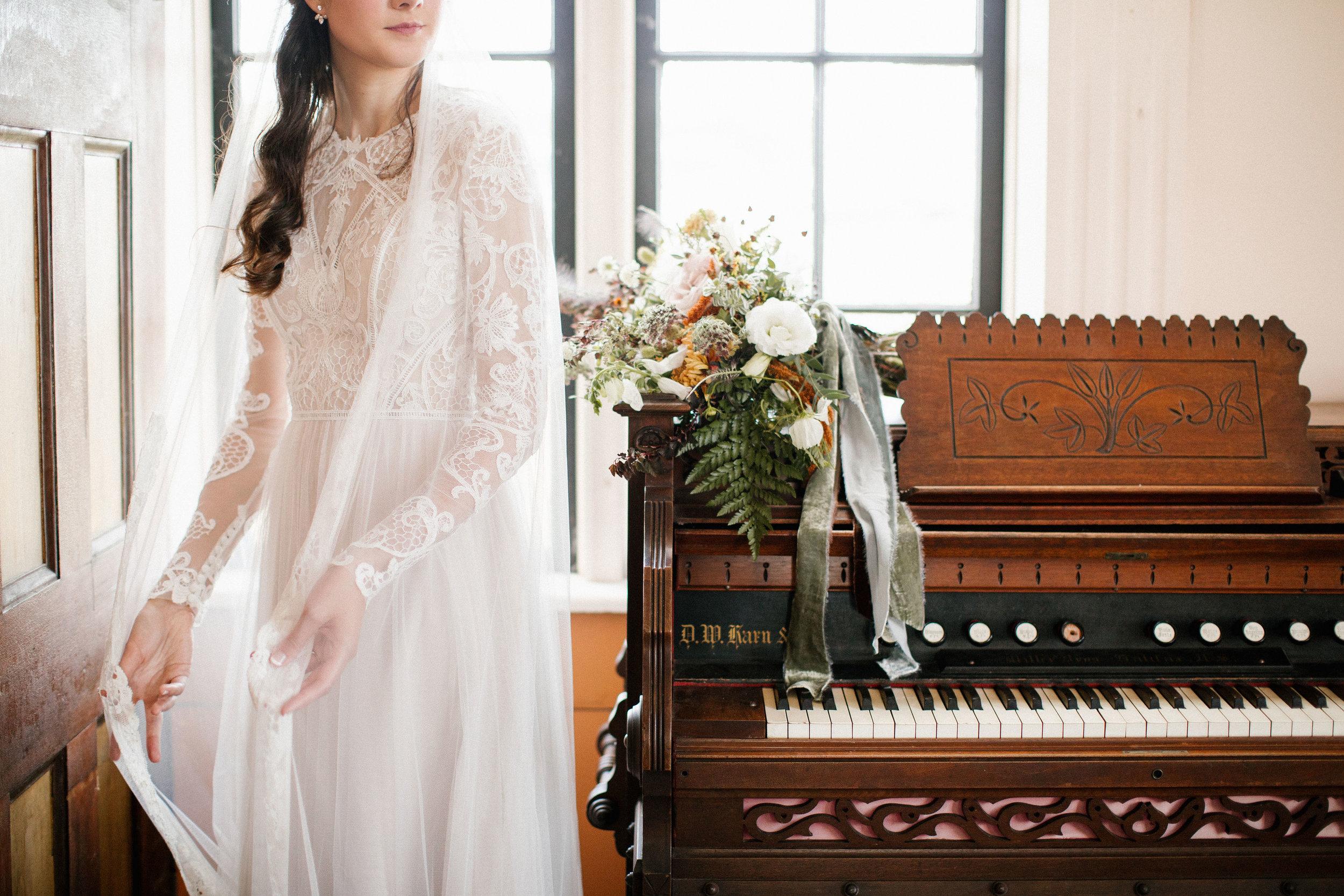Wedding ceremony in a small chapel on Cape Breton. Lush Destination Wedding Floral Design