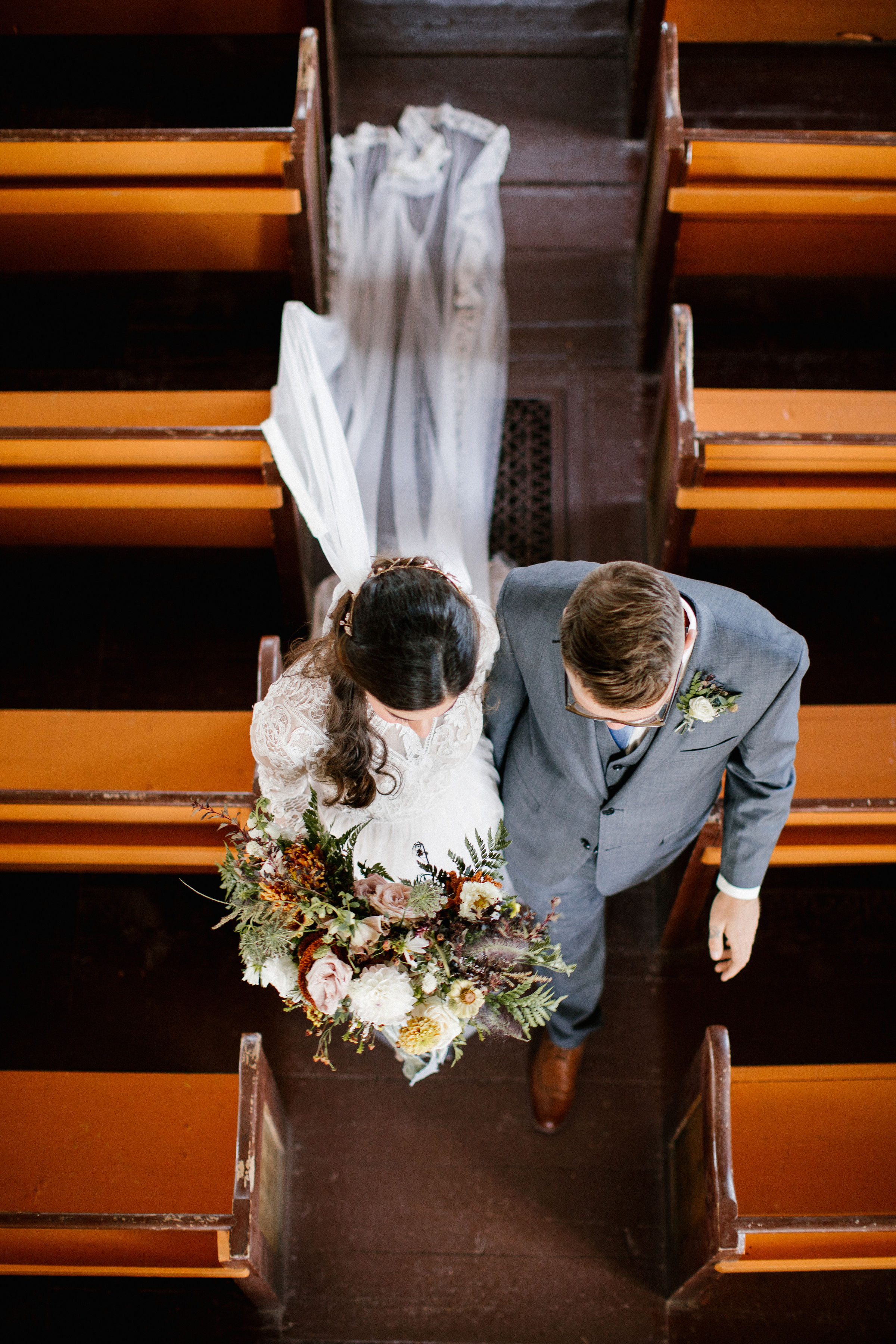 Wedding ceremony in a small chapel on Cape Breton. Lush Destination Wedding Floral Design