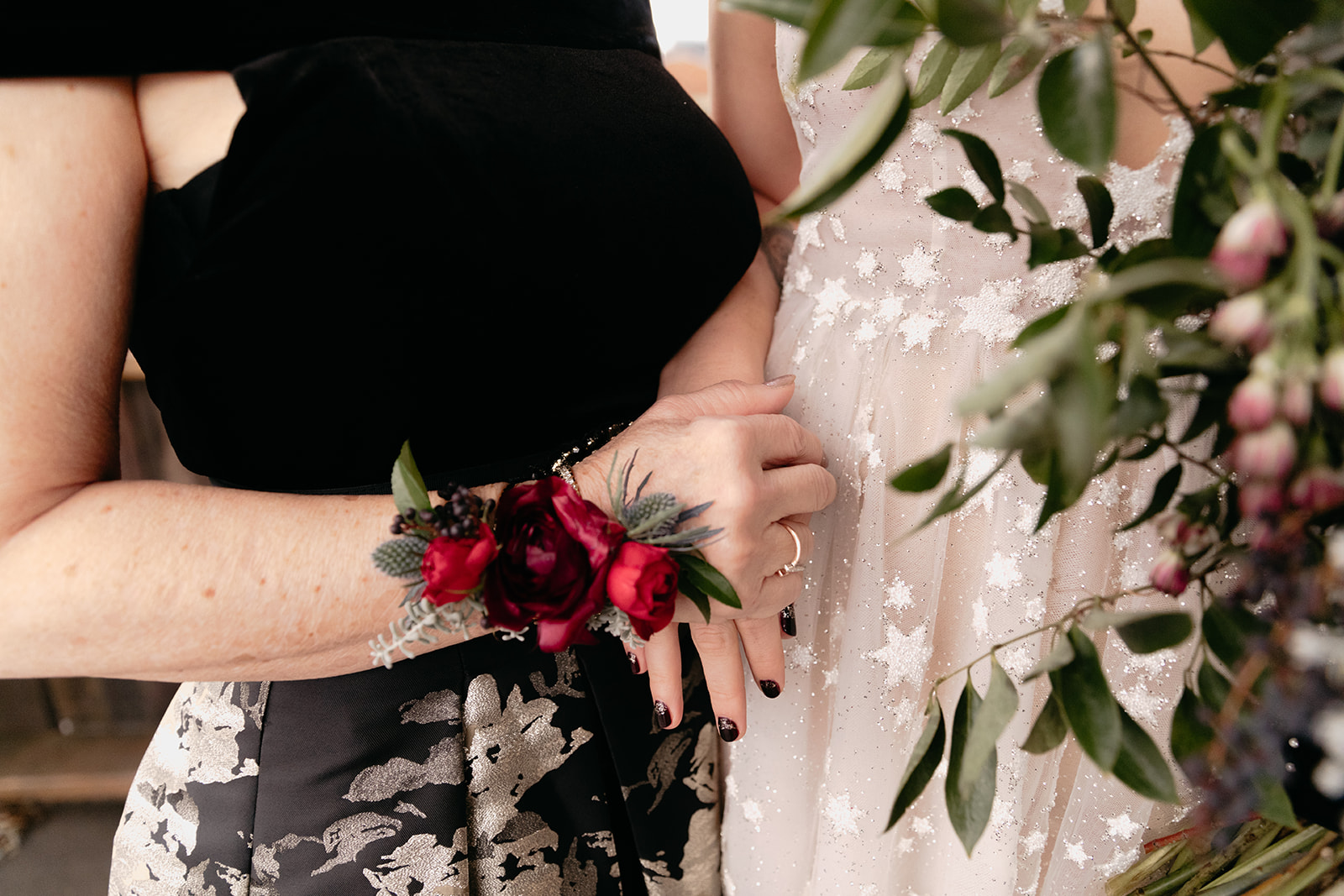Burgundy and marsala wristlet corsage for the mother of the bride! Nashville Wedding flowers at Marathon Music Works.