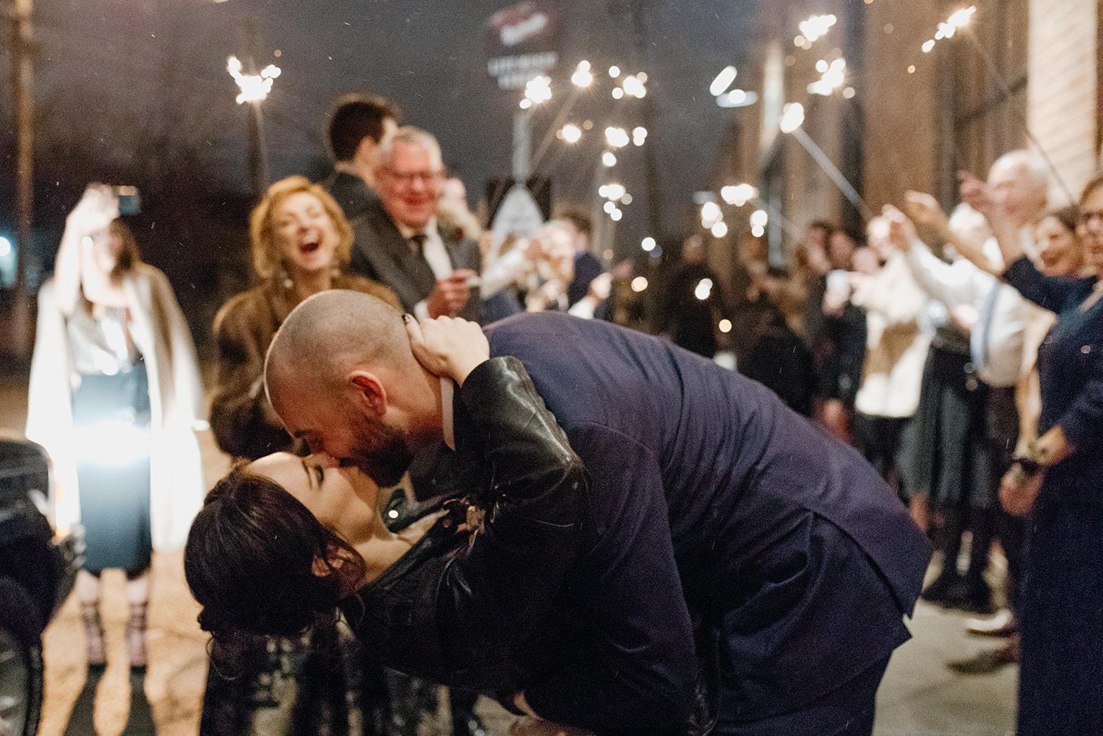 Sparkler exit in the snow!! Magical Nashville Wedding!