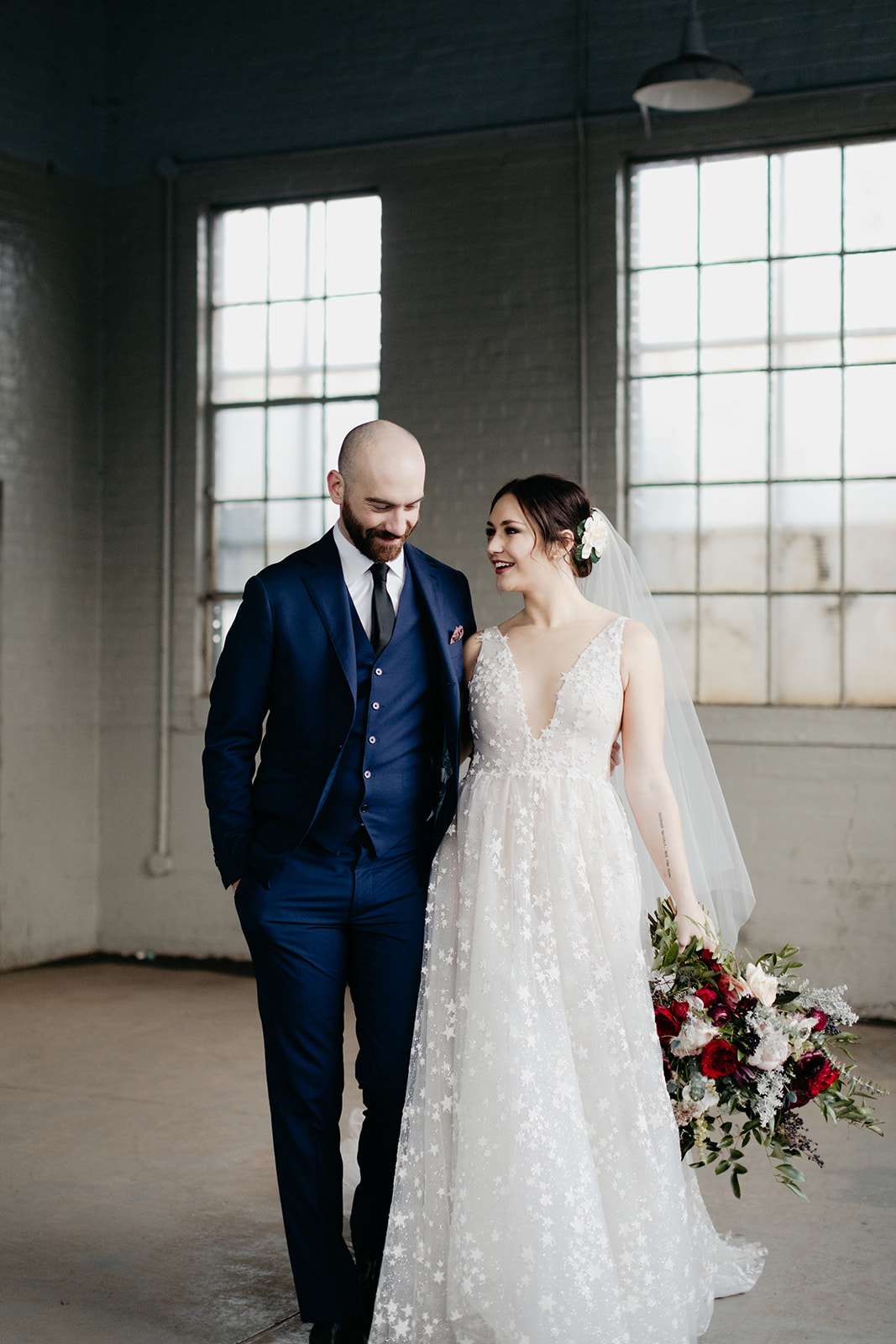Next morning bride and groom photos! Lush bridal bouquet with peonies, garden roses, and anemones. Nashville, TN luxury wedding floral design.