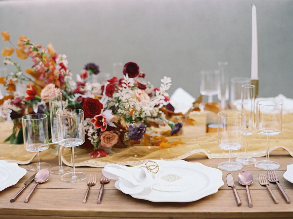 Copper and marsala floral centerpiece for Indian wedding at Cheekwood Botanical Gardens. Nashville Wedding Florist.