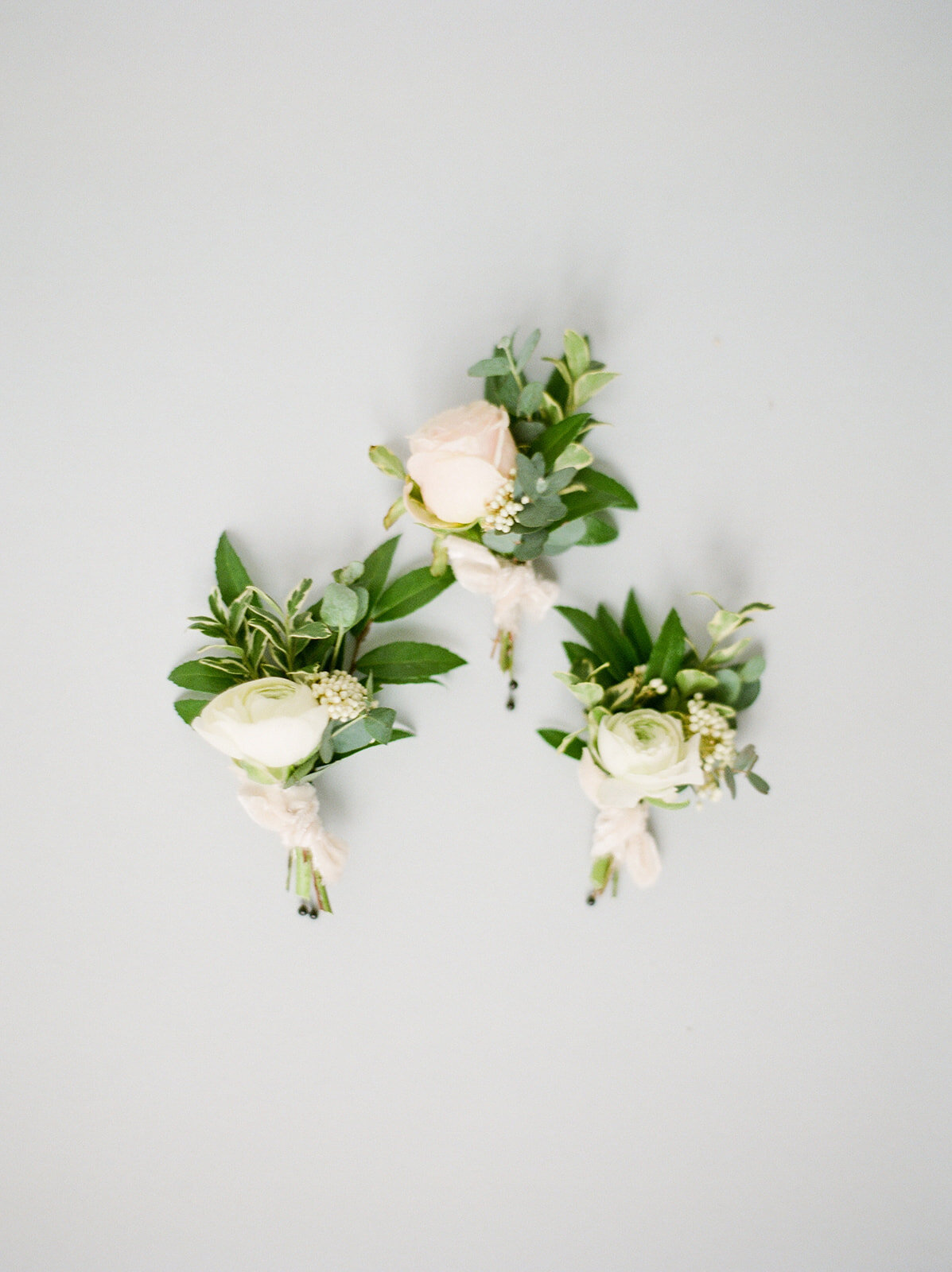 Blush and ivory boutonnieres with textures and natural greenery. Nashville wedding florist.