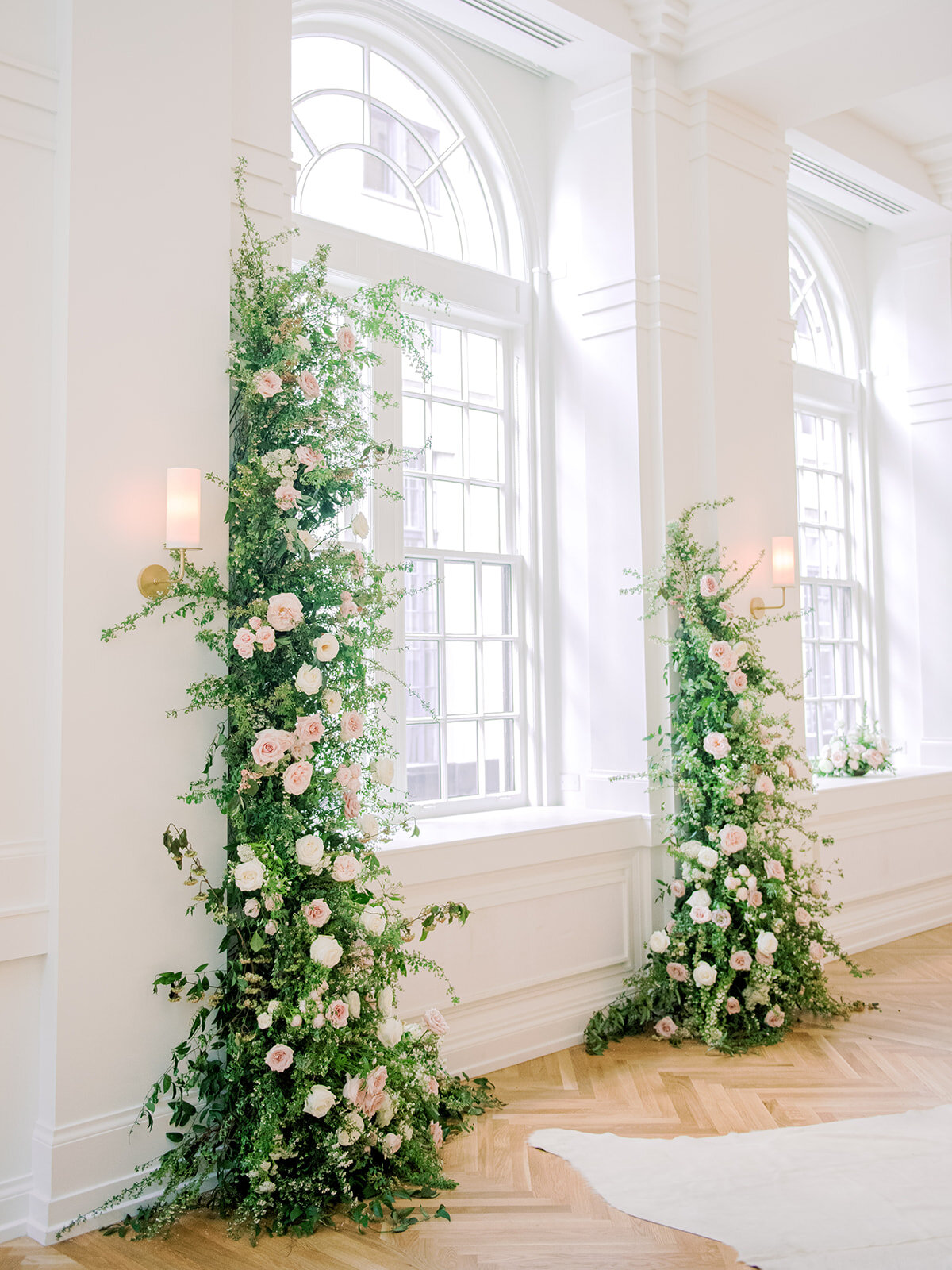 Organic greenery installation for downtown Nashville wedding at the Noelle. Wedding Floral Designer, Rosemary and Finch.