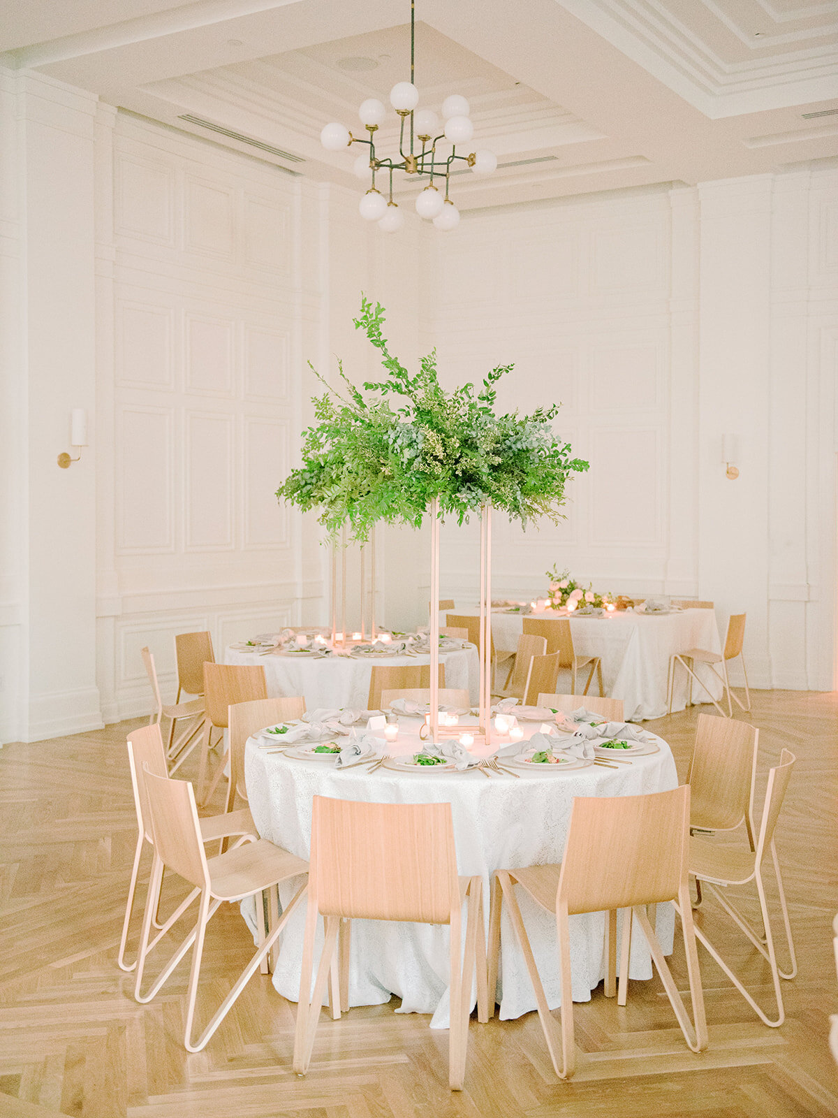 All greenery arrangement on modern gold stand for an elegant blush and cream wedding at the Noelle, Nashville.