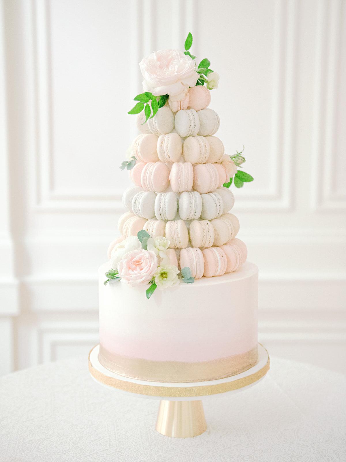Macaron cake in light pastel color palette. Nashville wedding florist at the Noelle.