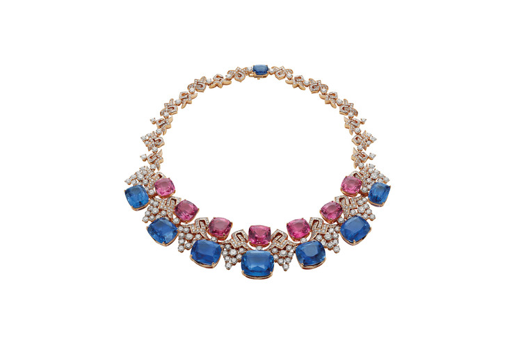 This gorgeous $6.5M(gasp)Bulgari necklace is encrusted with 24.75 carats of round cut brilliant diamonds, and also sapphires and pink spinels, and dusted with pavé diamonds.   PHOTO:BULGARI