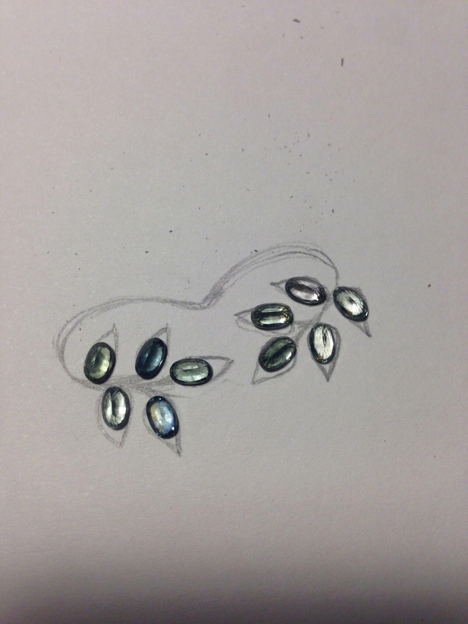 Custom Leaf Ring with Sapphire Gemstones